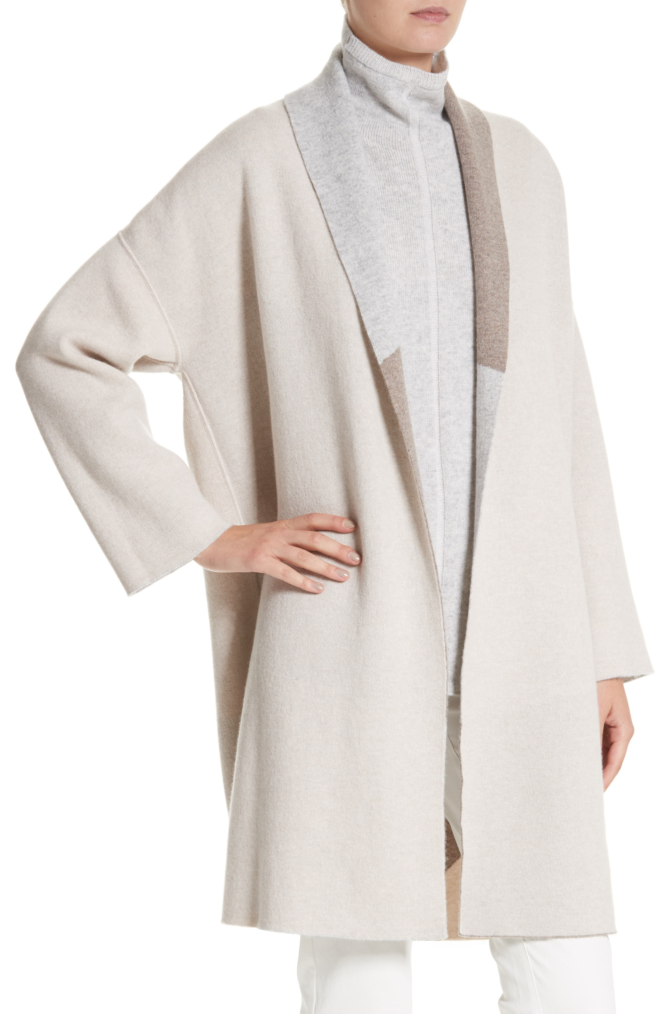 Stretch Cashmere Reversible Felted Colorblock Cardigan,                             Alternate thumbnail 2, color,                             020