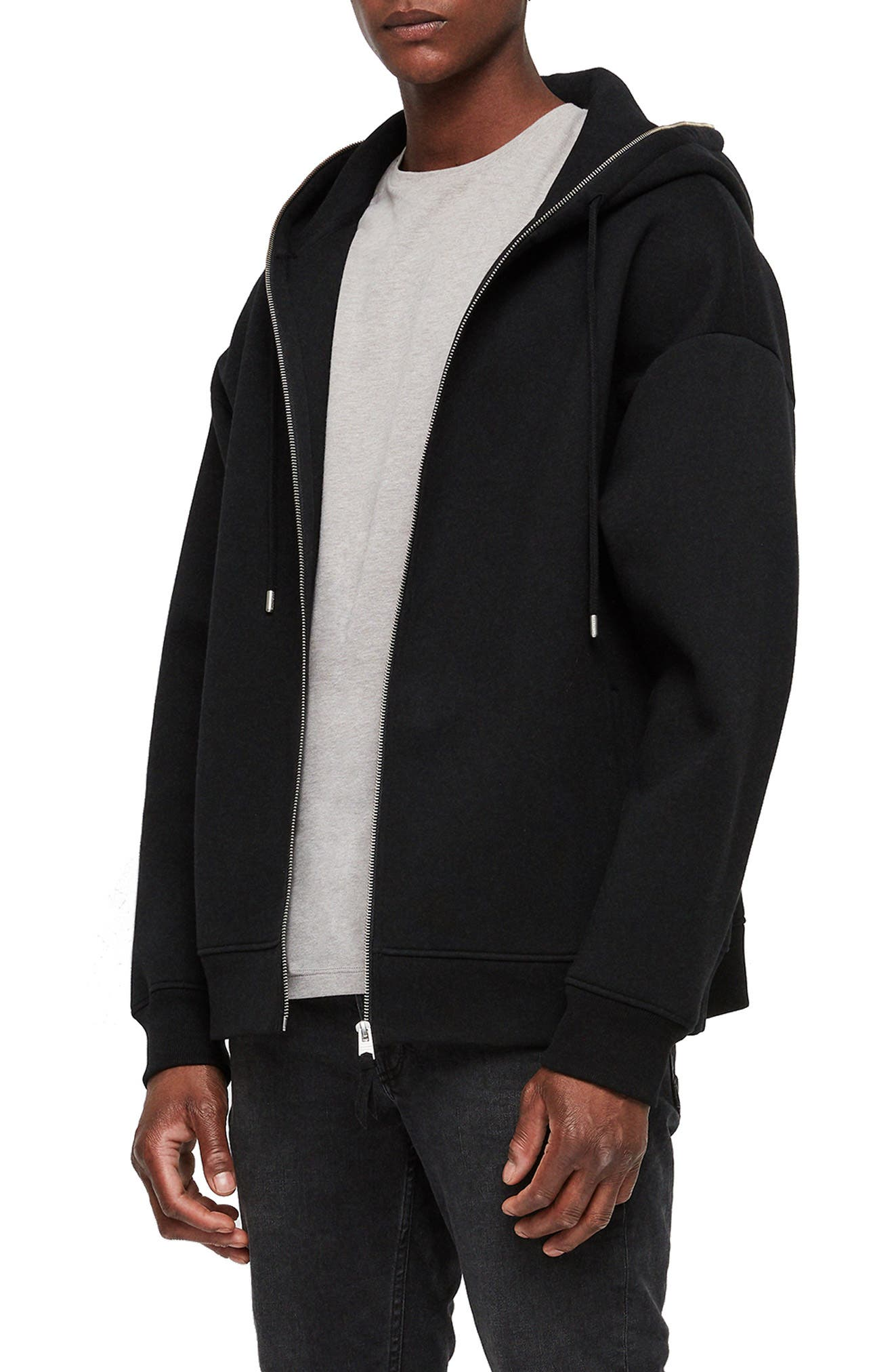 Hibard Regular Fit Zip Hoodie,                             Alternate thumbnail 3, color,                             JET BLACK