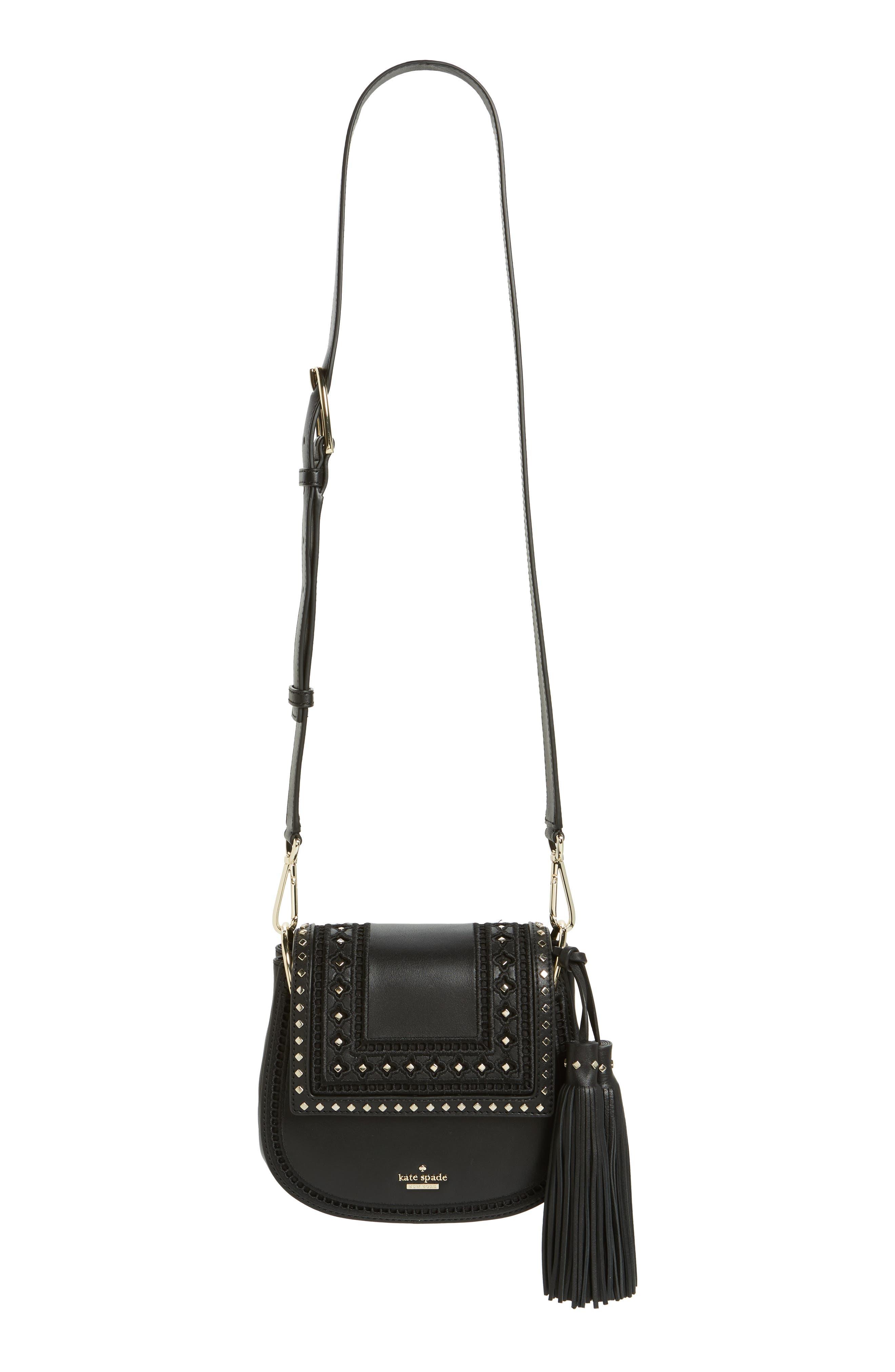 basset lane - small emaline leather crossbody bag, Main, color, 001