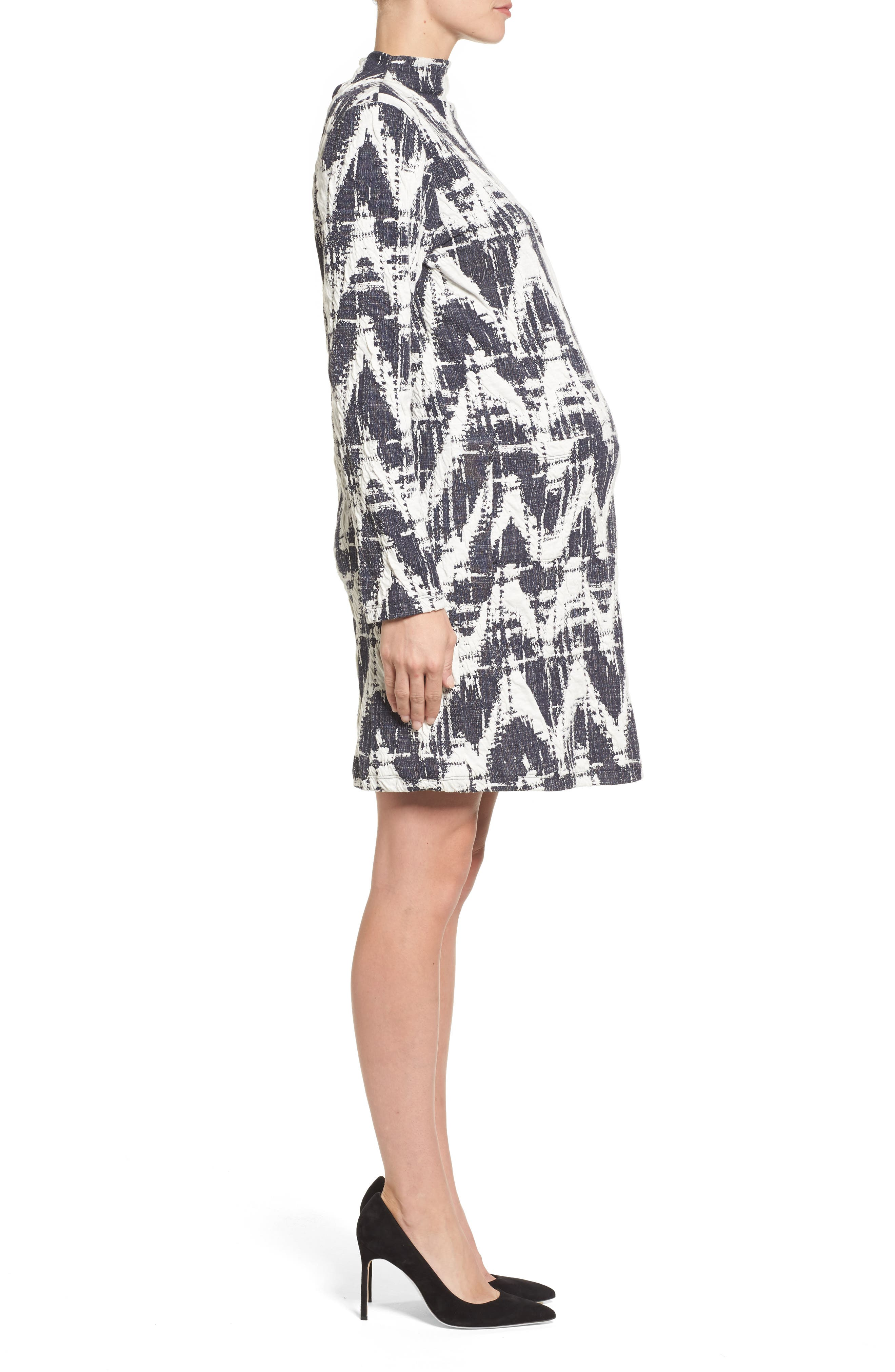 Amelia Print Texture Knit Maternity Dress,                             Alternate thumbnail 3, color,                             410