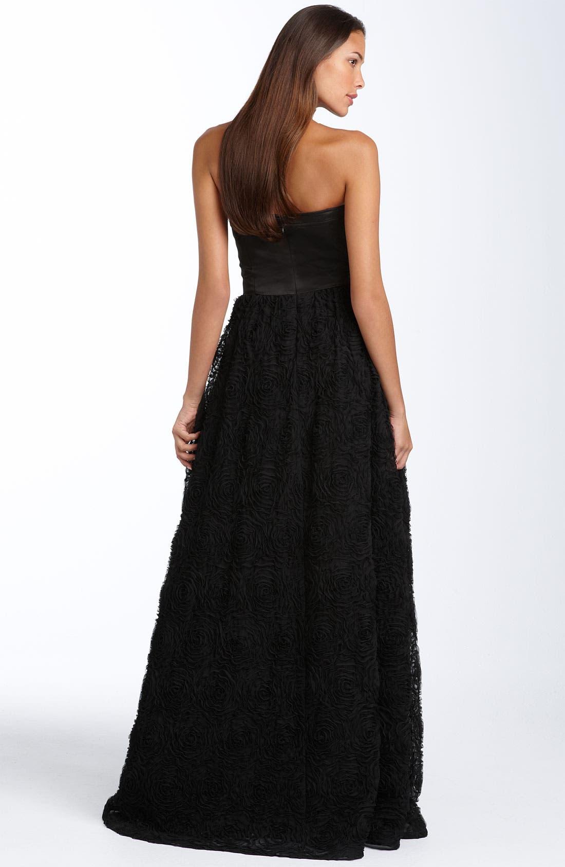 Strapless Rosette Ball Gown,                             Alternate thumbnail 2, color,                             001