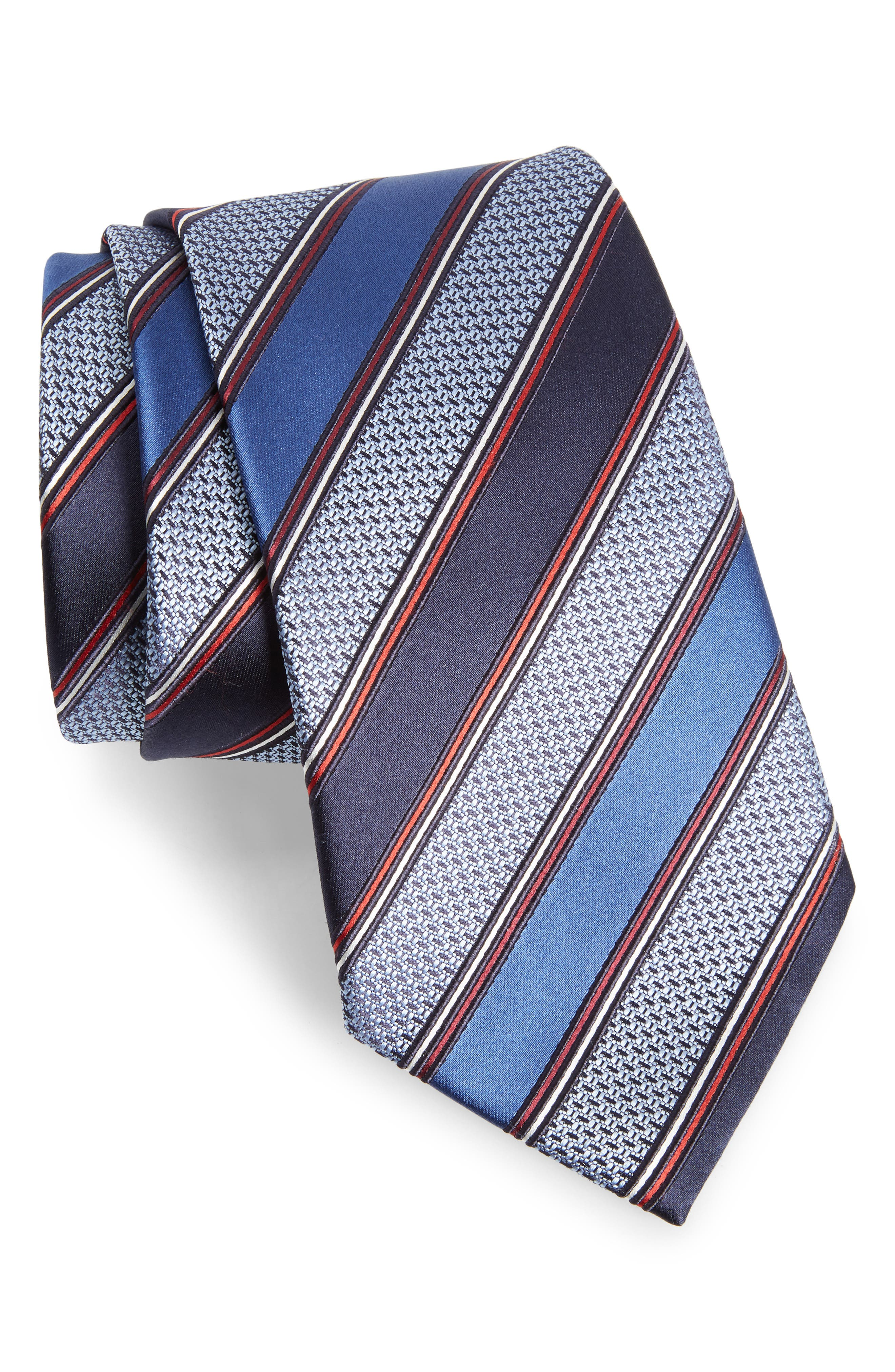 Stripe Silk & Cotton Tie,                             Main thumbnail 1, color,                             414