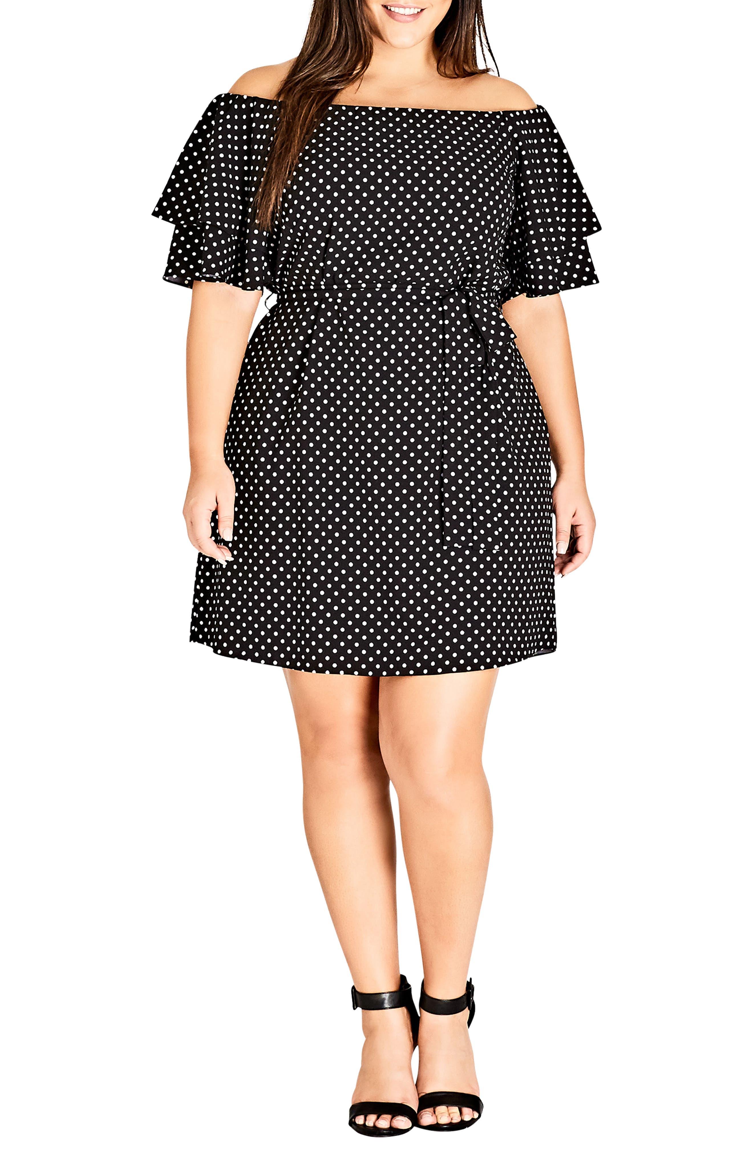 Plus Size City Chic Flutter Sleeve Print Off The Shoulder Dress, White