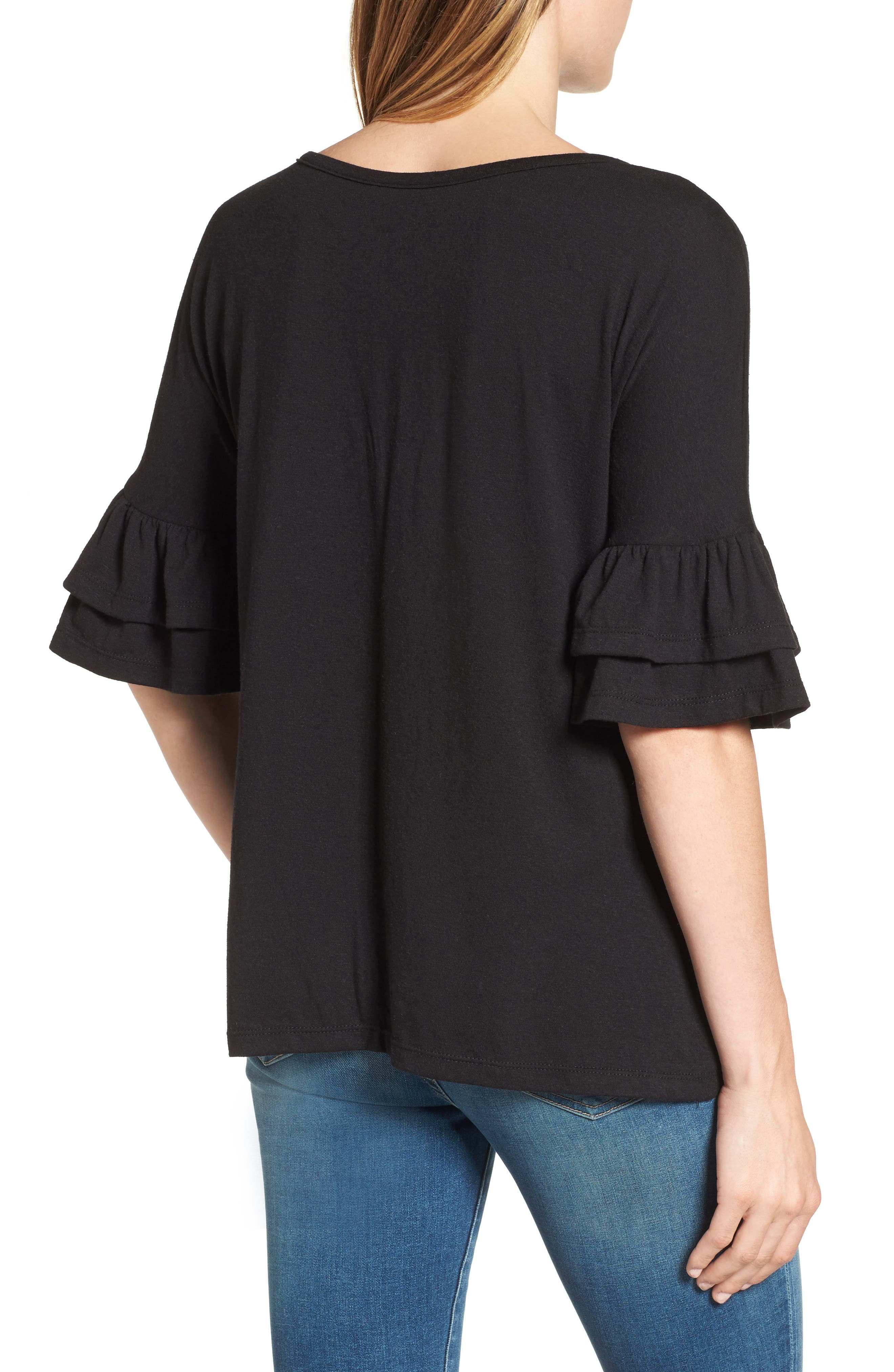 Tiered Bell Sleeve Tee,                             Alternate thumbnail 10, color,