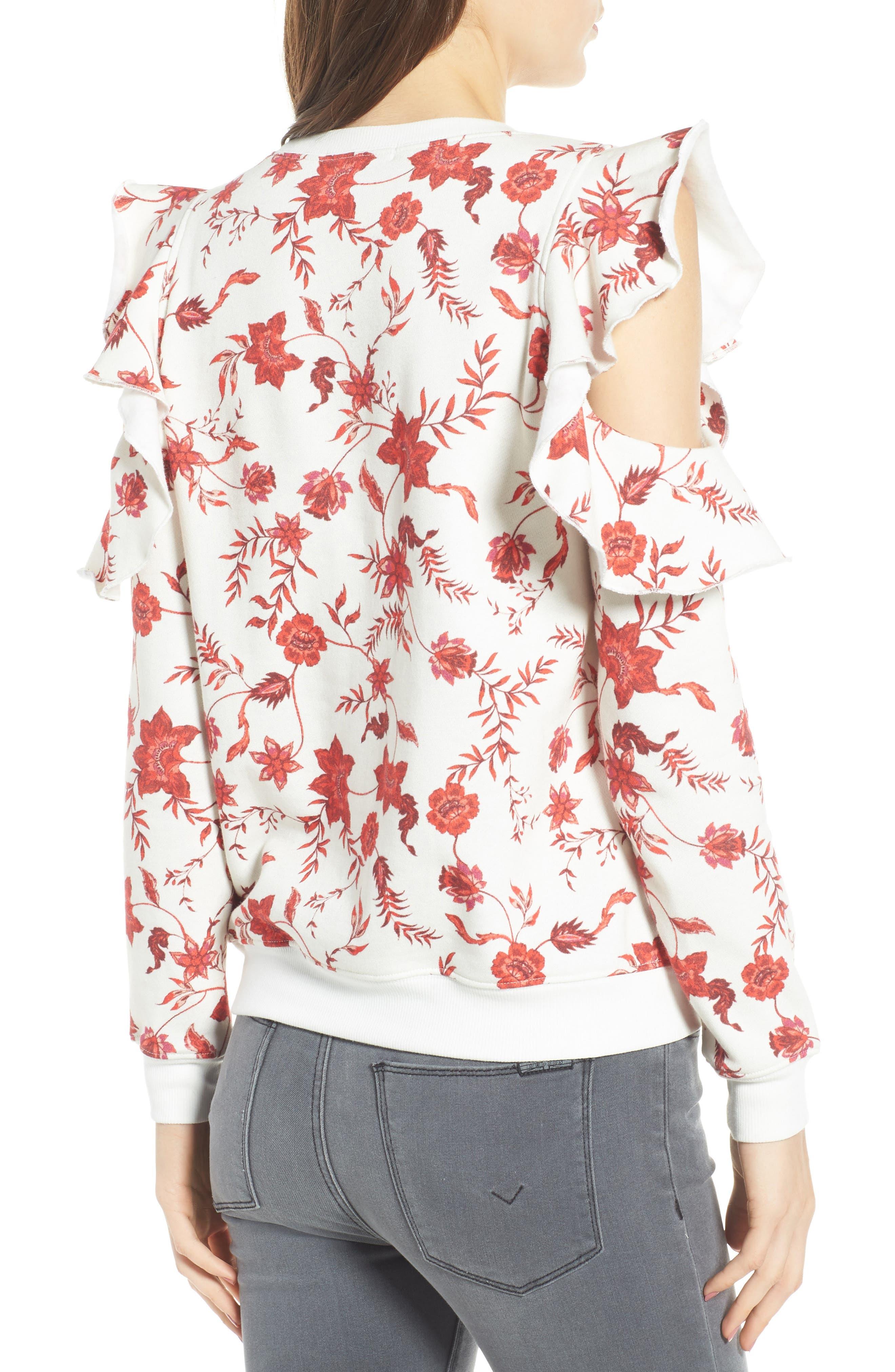 REBECCA MINKOFF,                             Gracie Cold Shoulder Floral Sweatshirt,                             Alternate thumbnail 2, color,                             900
