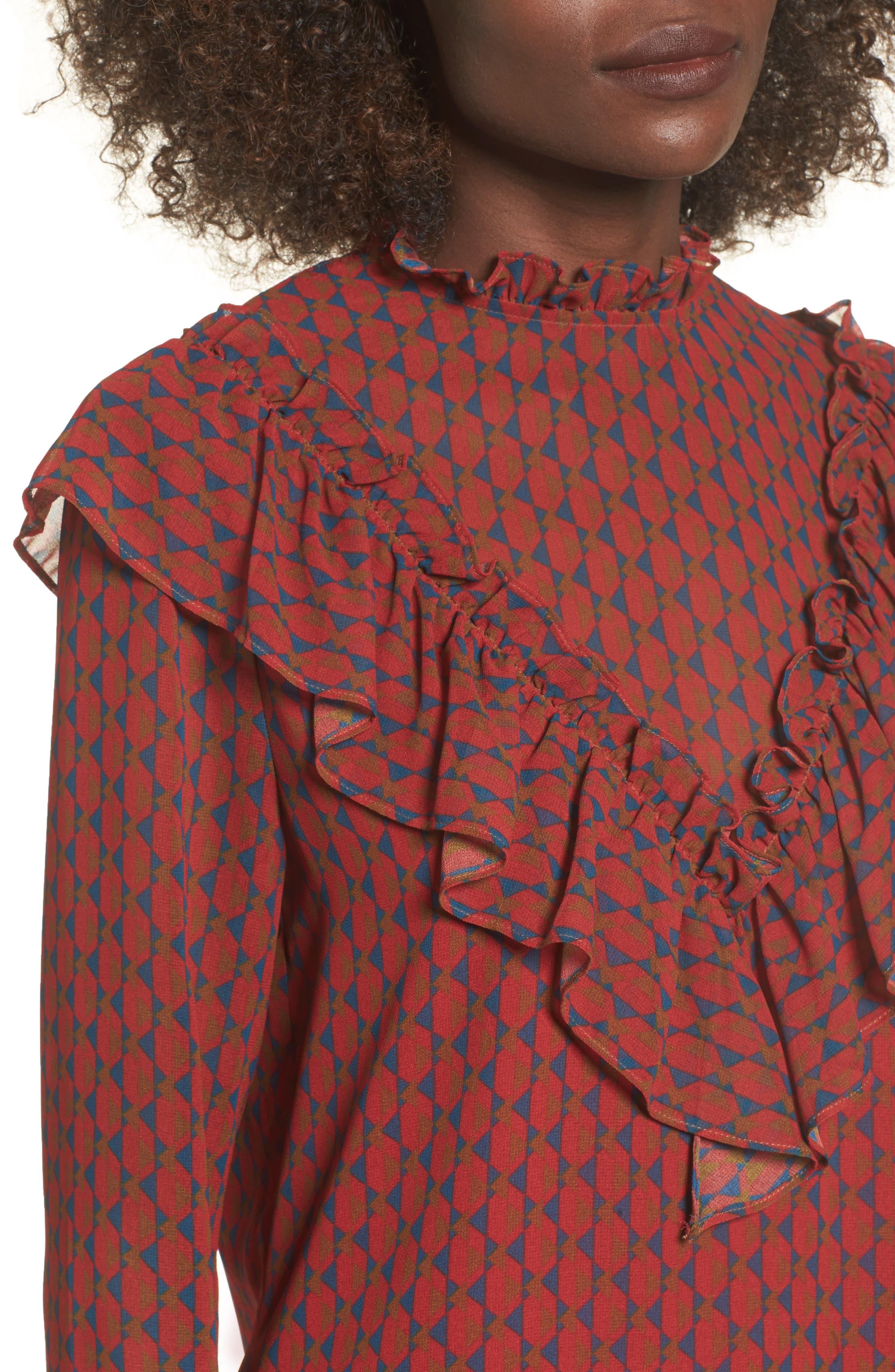 Eryn Ruffle Bell Sleeve Blouse,                             Alternate thumbnail 4, color,                             600