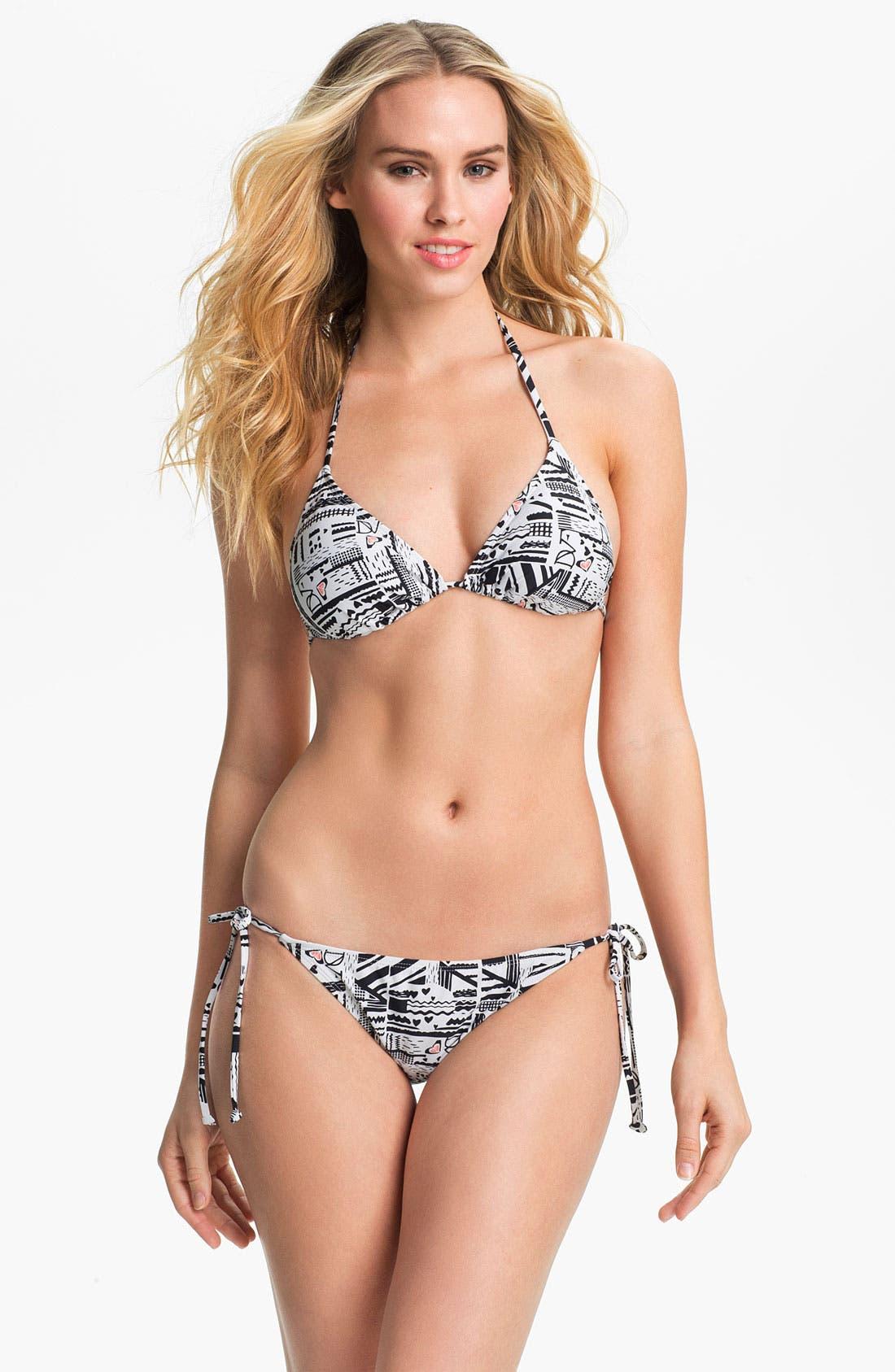 'DVF Loves Roxy' Bikini Top,                             Alternate thumbnail 4, color,                             001