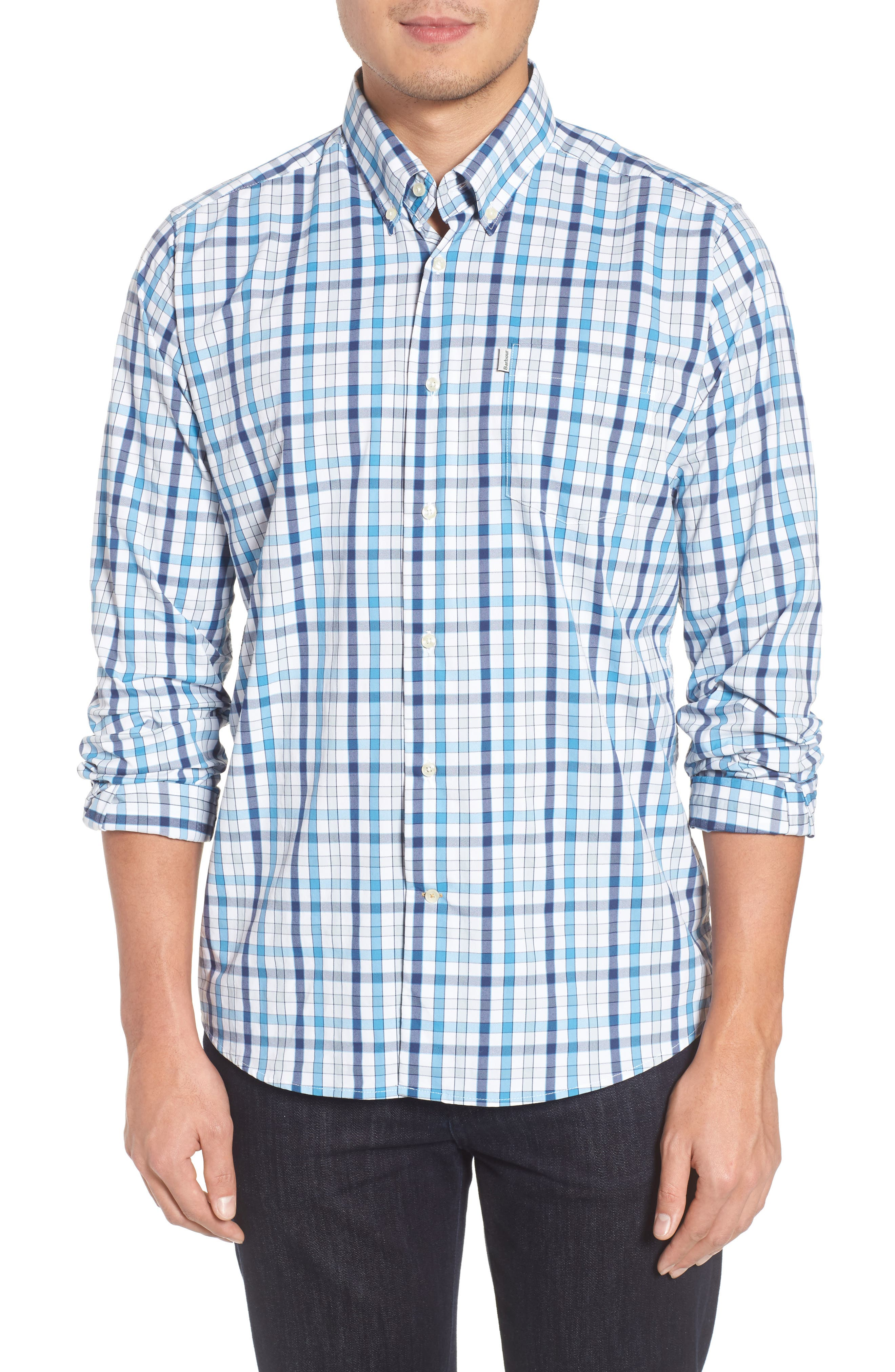 Fell Performance Regular Fit Stretch Check Sport Shirt,                             Main thumbnail 3, color,