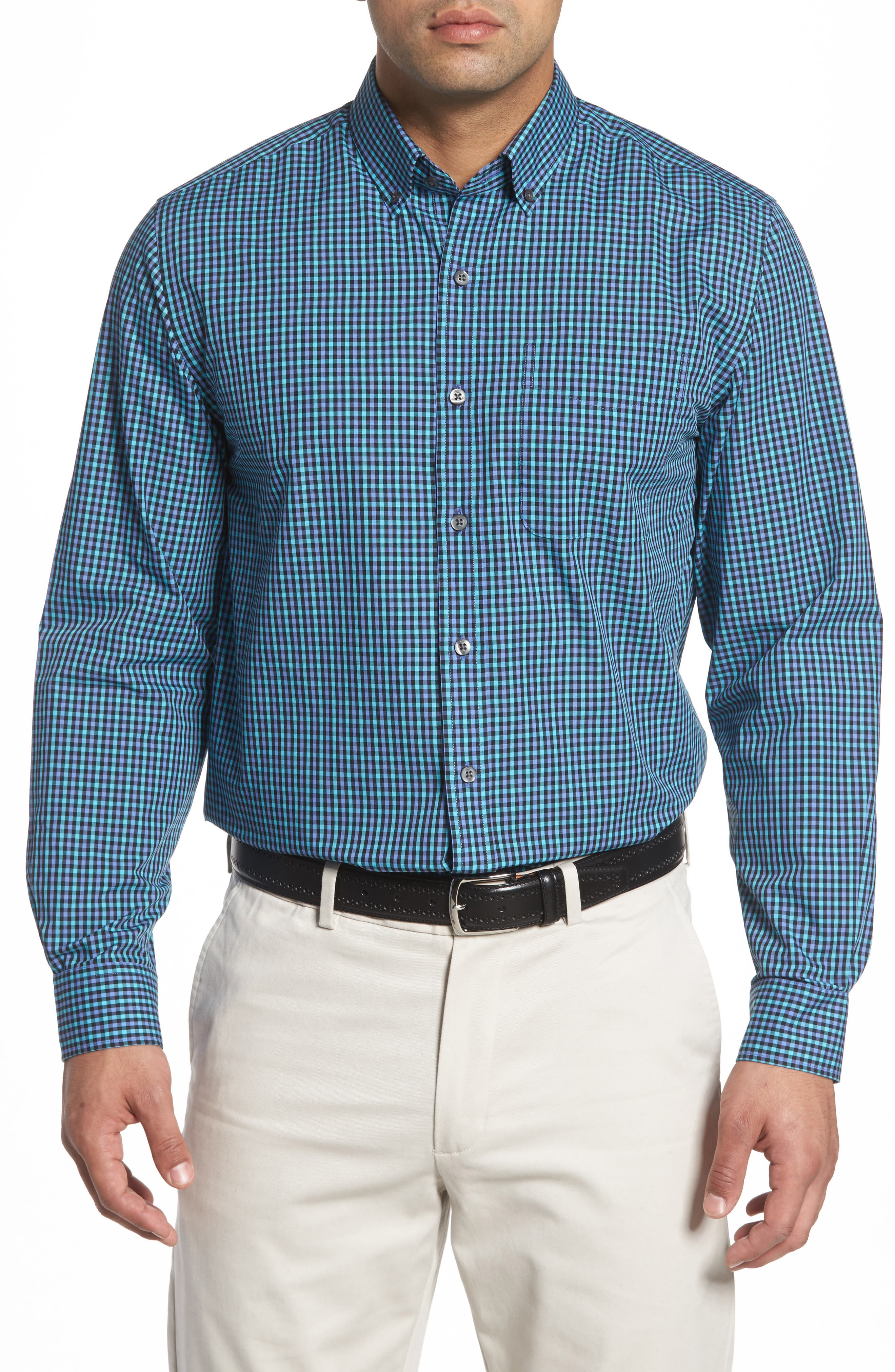 Barrett Easy Care Check Sport Shirt,                             Main thumbnail 2, color,