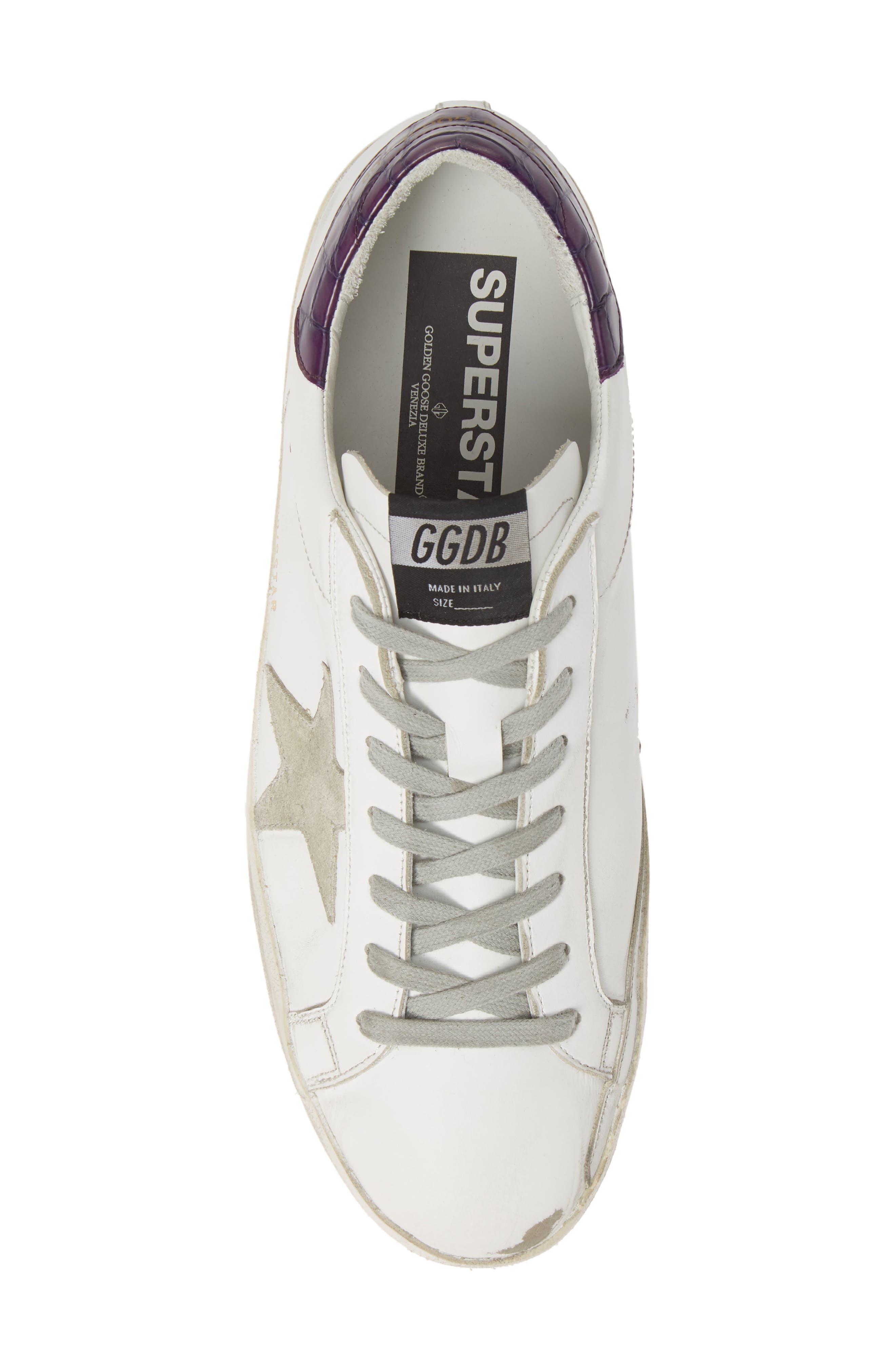 GOLDEN GOOSE,                             'Superstar' Sneaker,                             Alternate thumbnail 5, color,                             WHITE/ VIOLET