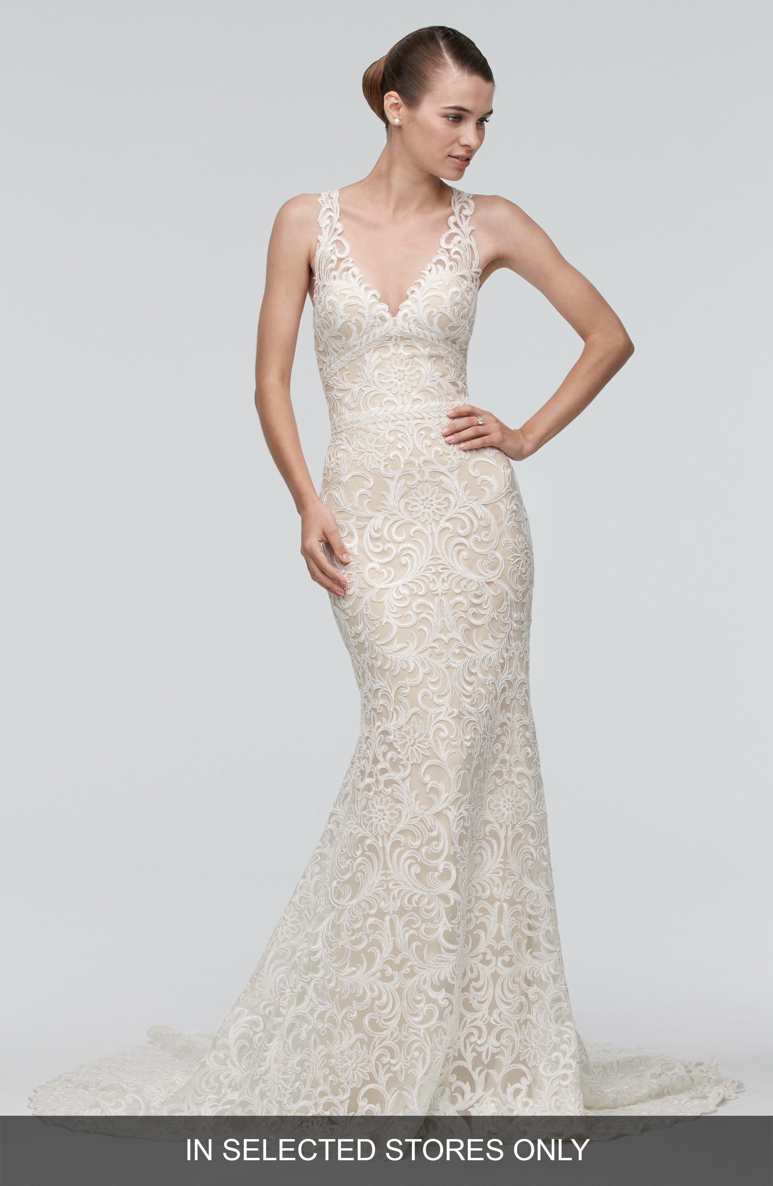 Georgia Back Cutout Lace Trumpet Gown,                             Alternate thumbnail 3, color,                             IVORY/NUDE