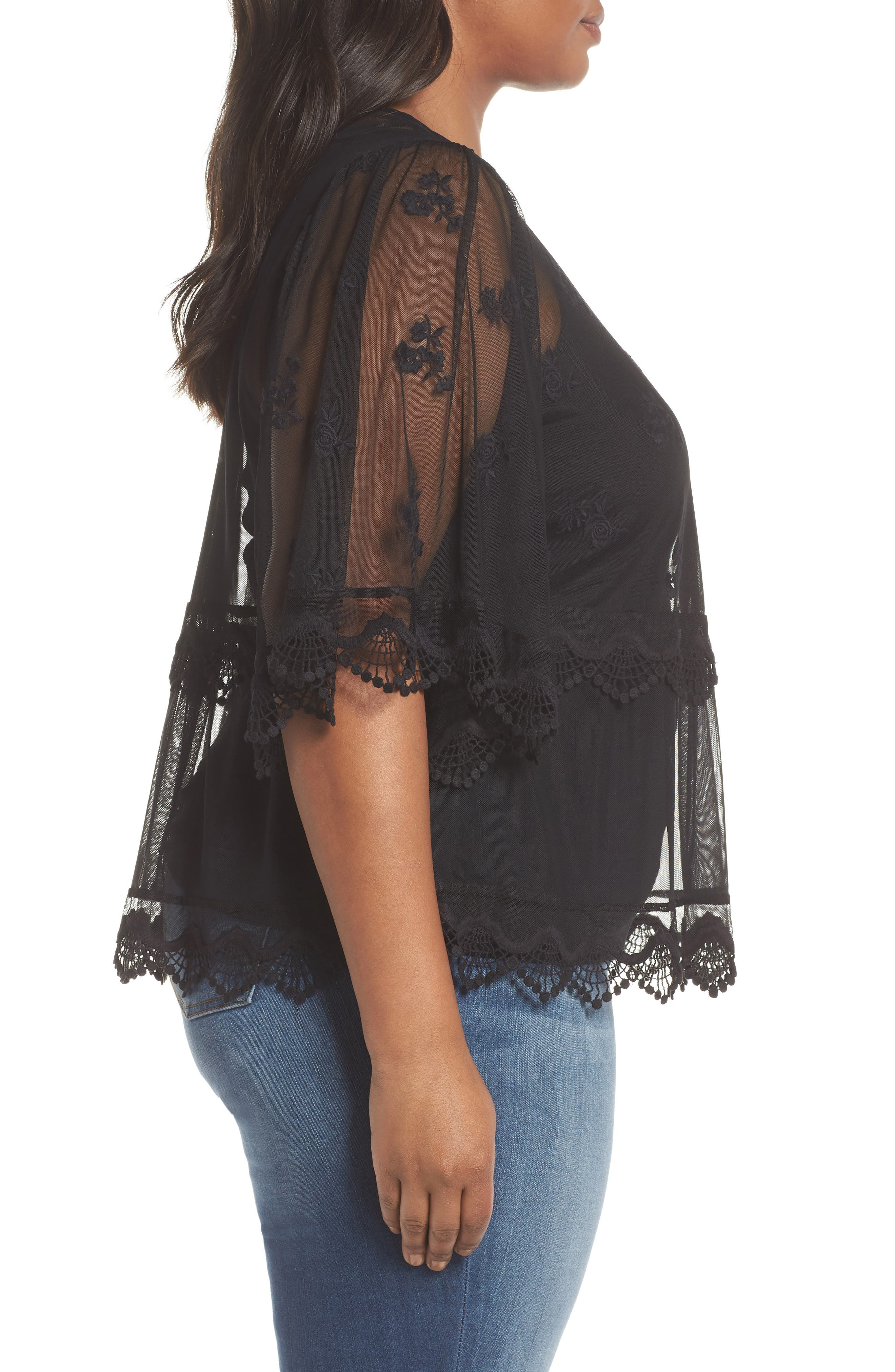 Scallop Trim Embroidered Mesh Top,                             Alternate thumbnail 3, color,                             RICH BLACK