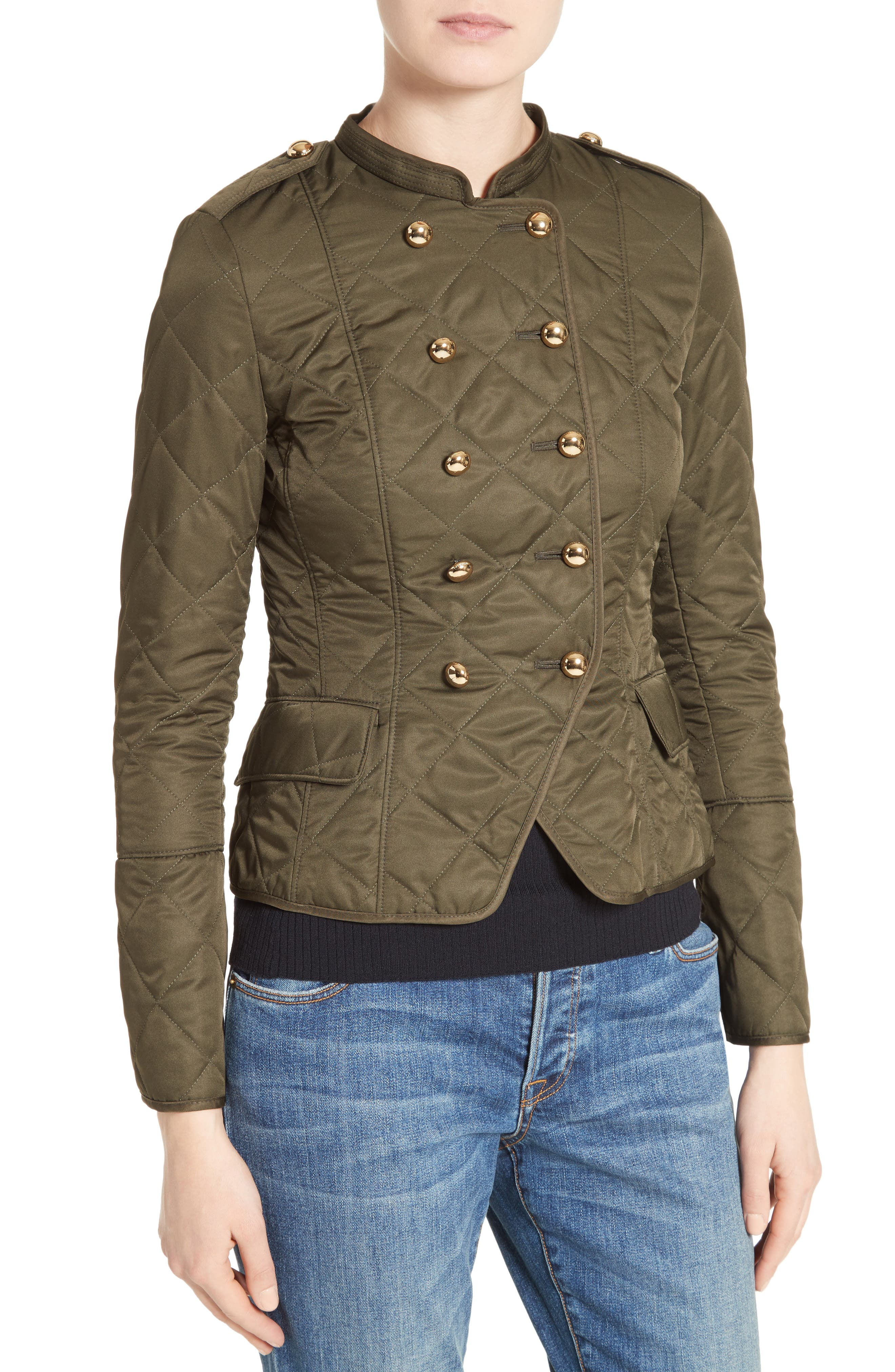 Boscastle Quilted Military Jacket,                             Alternate thumbnail 4, color,                             301