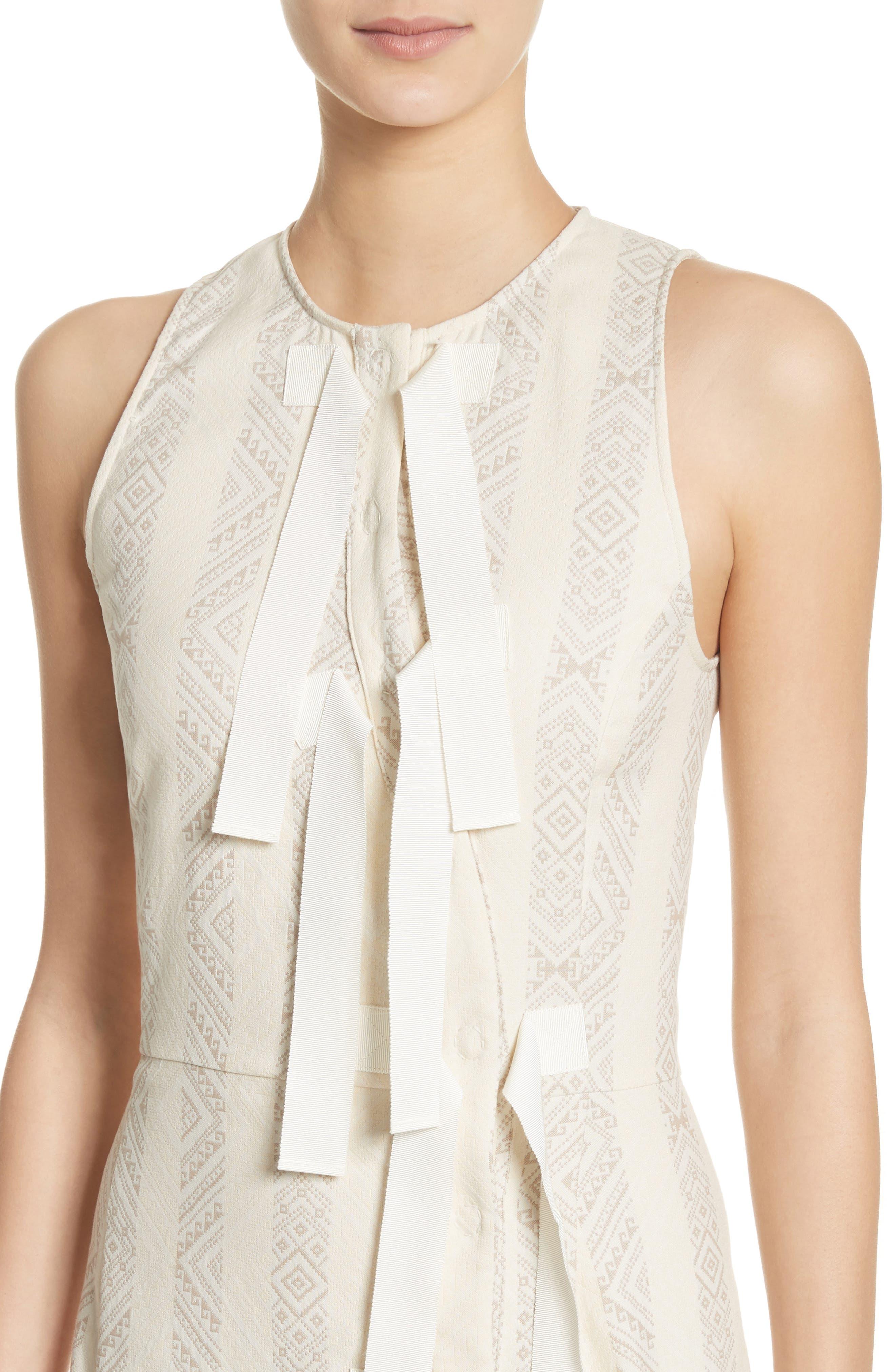Grosgrain Tie Stripe Dress,                             Alternate thumbnail 4, color,                             106