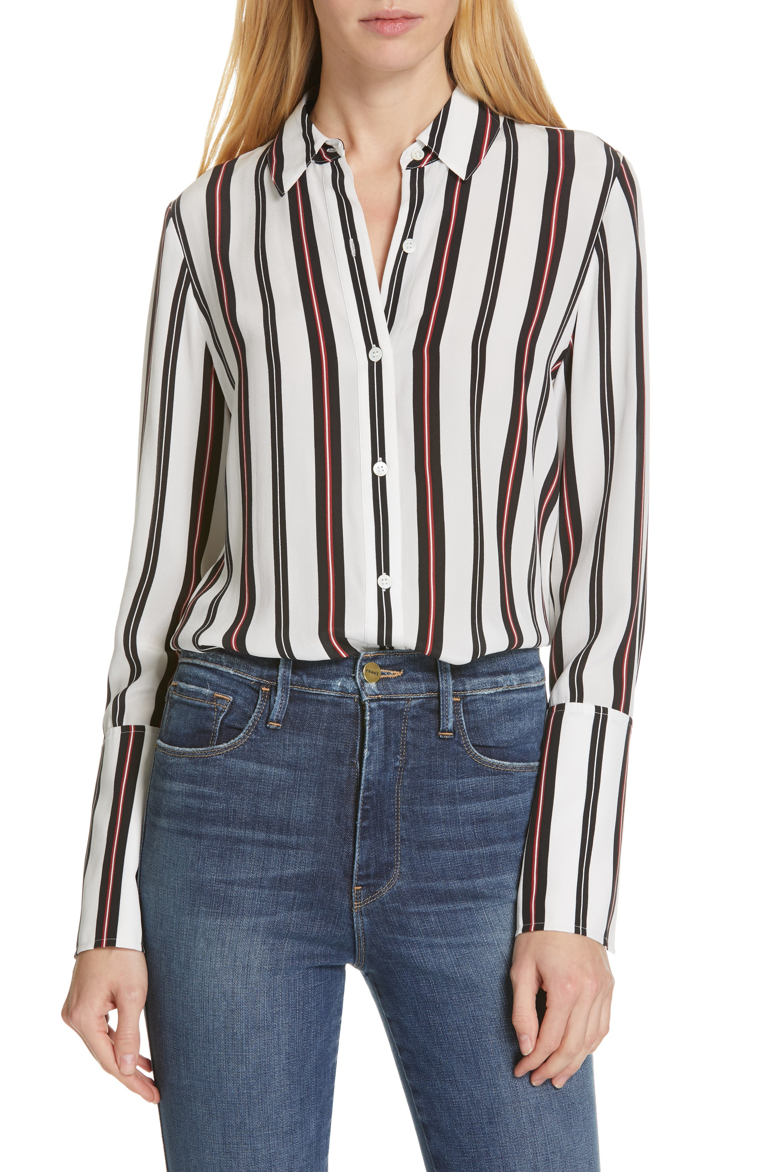 ccd1c8a4a59d39 Frame Striped Button-Front Cuffed Silk Blouse In Noir Multi