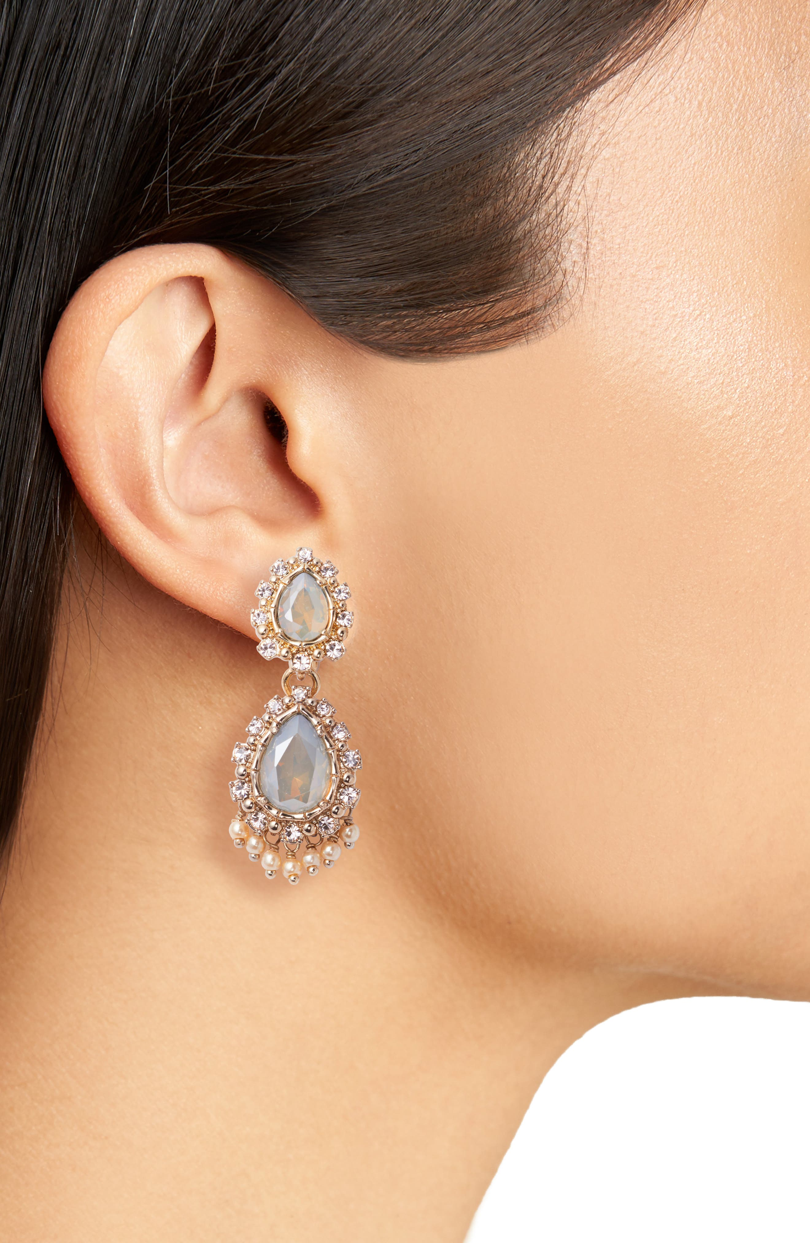 Double Drop Crystal Earrings,                             Alternate thumbnail 2, color,                             020