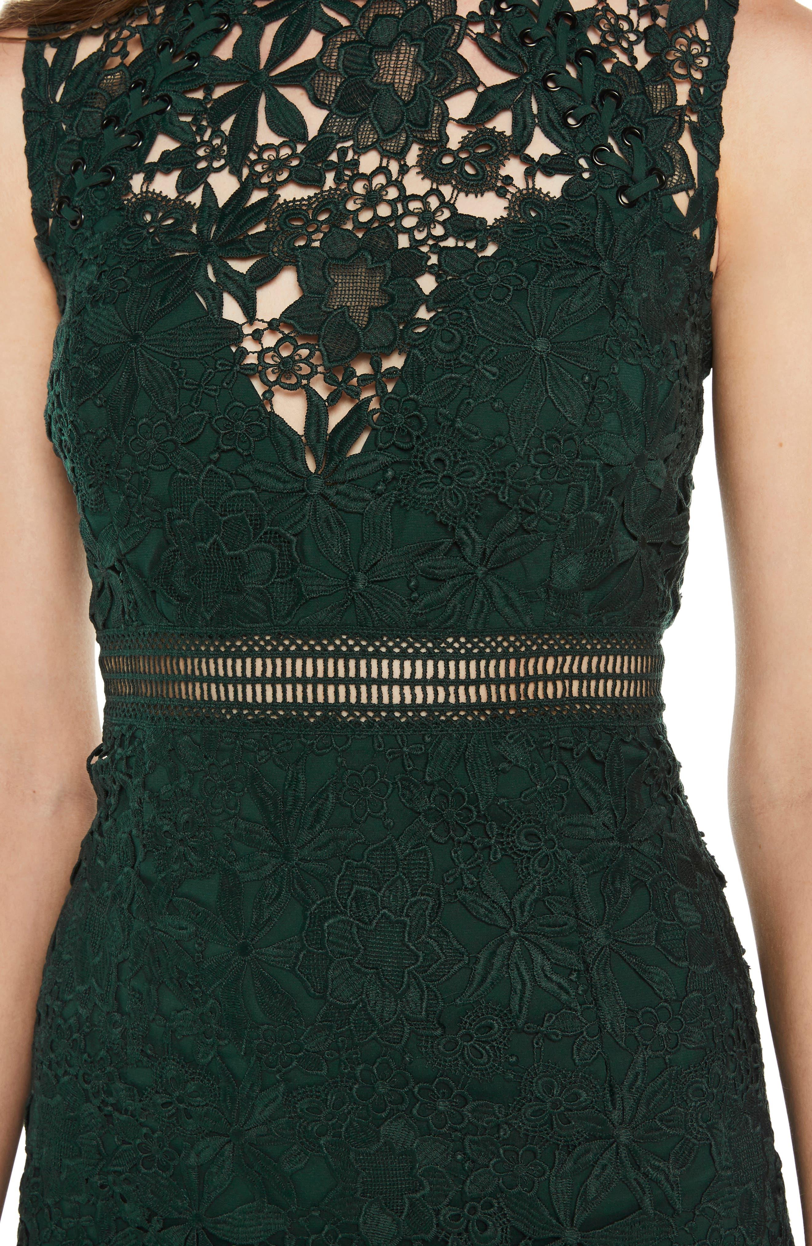 Paris Lace Body-Con Dress,                             Alternate thumbnail 4, color,                             FOREST GREEN