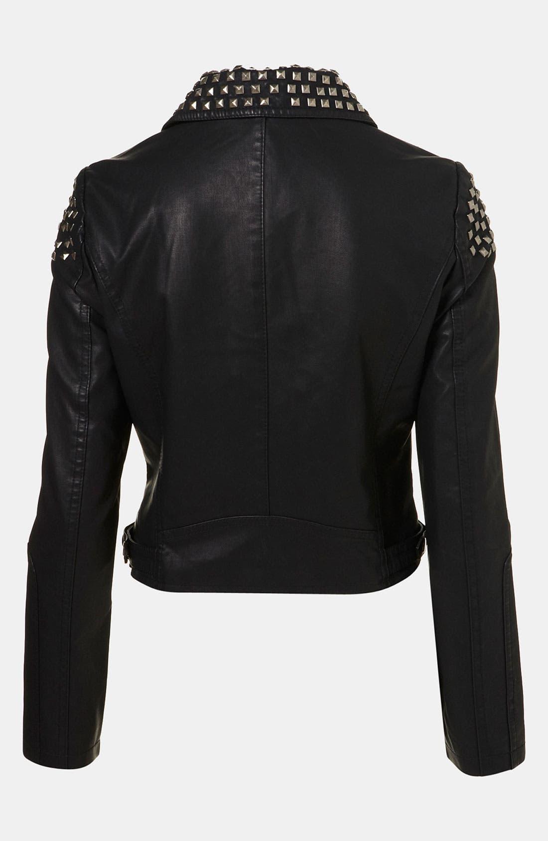 Studded Faux Leather Biker Jacket,                             Alternate thumbnail 2, color,
