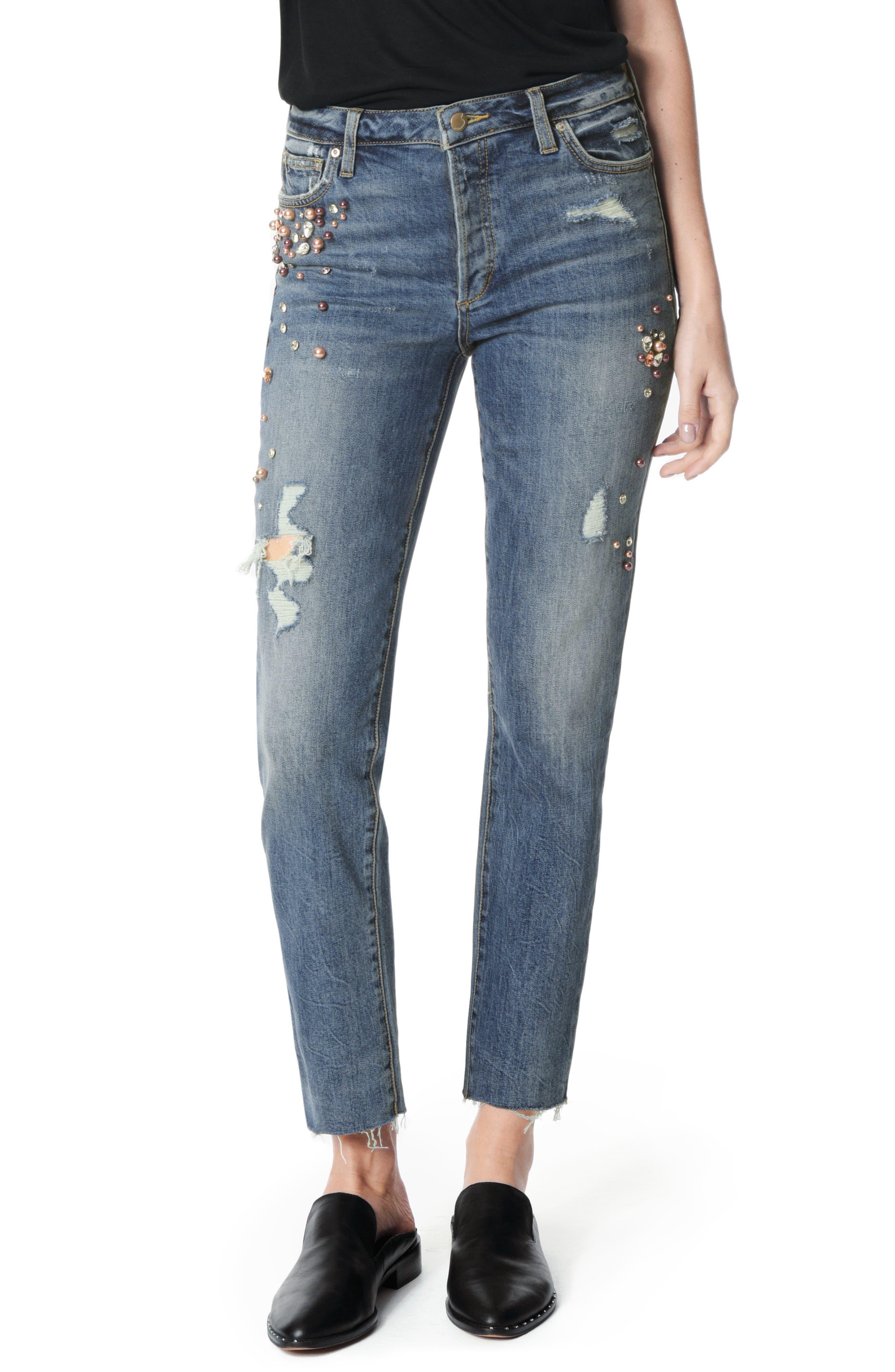 Smith Embellished High Waist Raw Hem Ankle Boyfriend Jeans,                             Main thumbnail 1, color,                             SHEYENNE