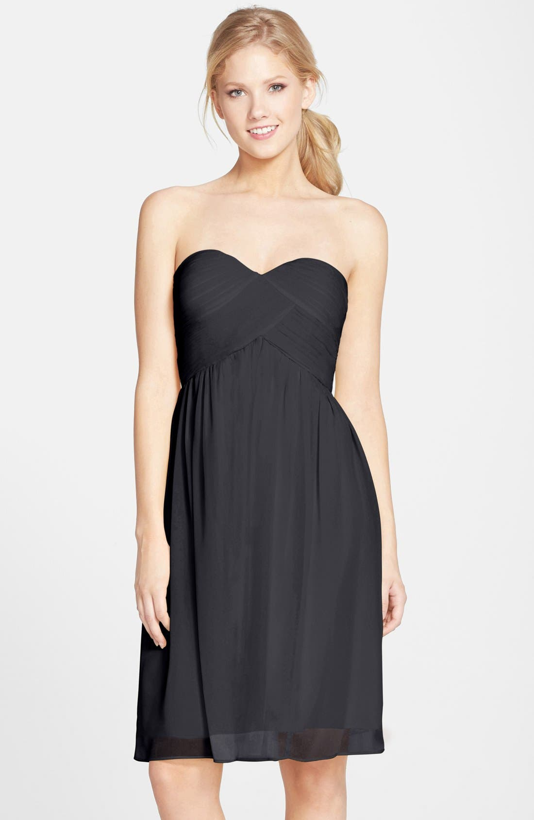 'Morgan' Strapless Silk Chiffon Dress,                             Main thumbnail 2, color,