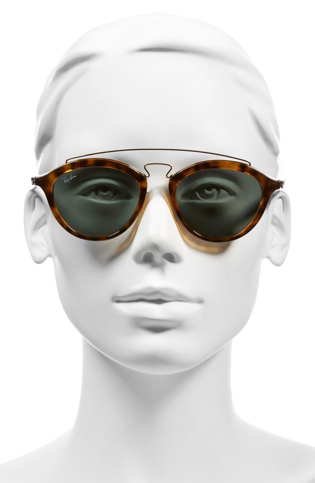 Highstreet 50mm Brow Bar Sunglasses,                             Alternate thumbnail 8, color,