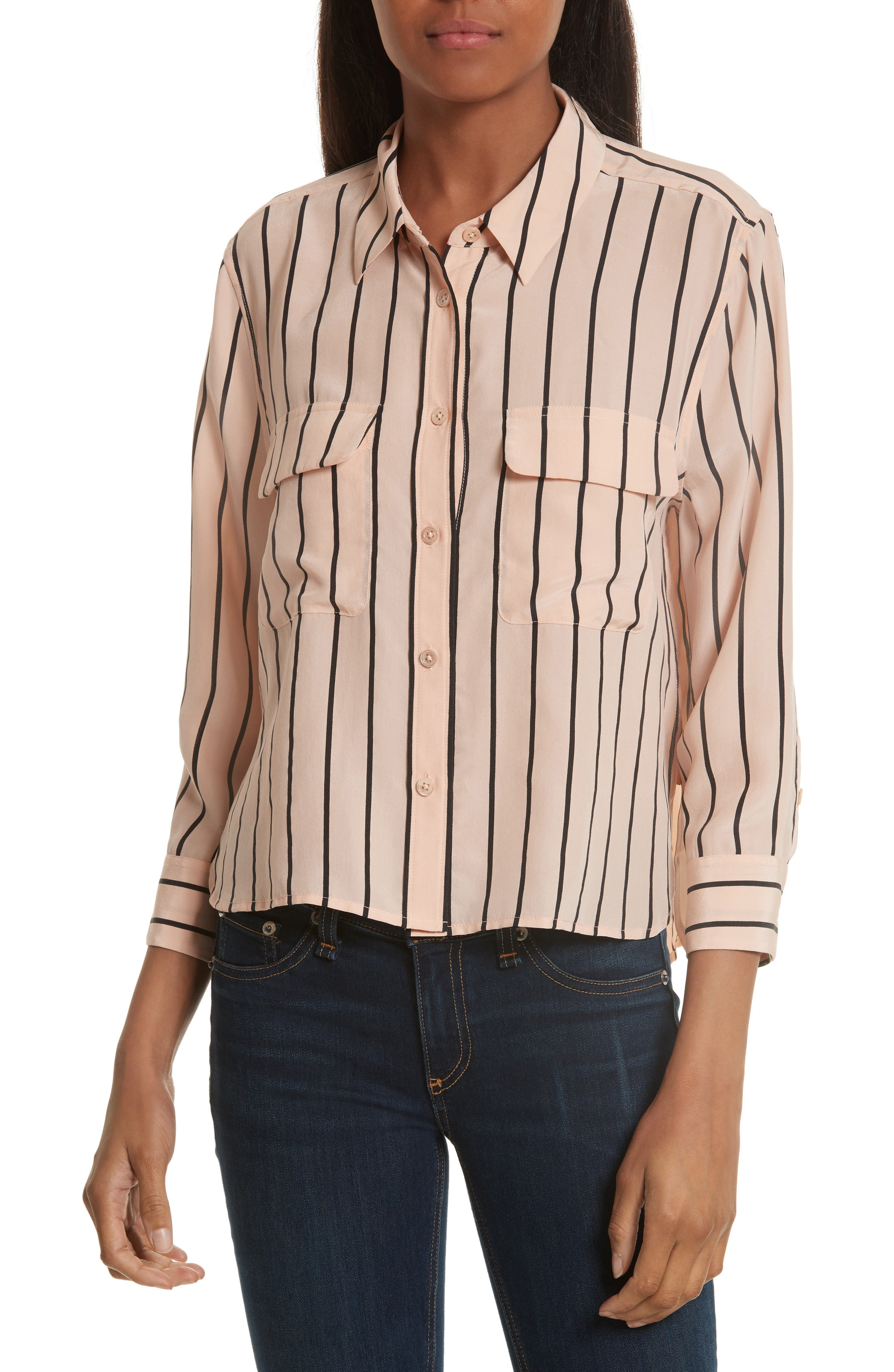 Signature Crop Stripe Silk Shirt,                             Main thumbnail 1, color,                             282