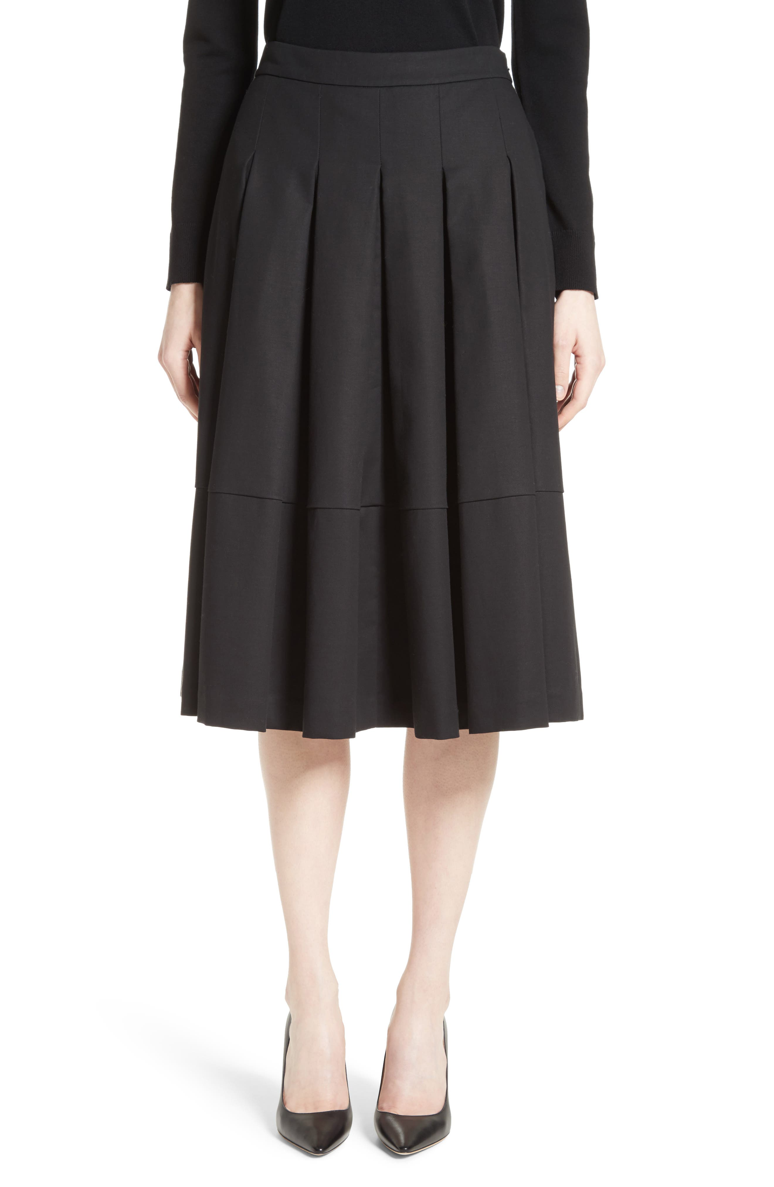 Gabardine Pleated Skirt,                             Main thumbnail 1, color,                             001