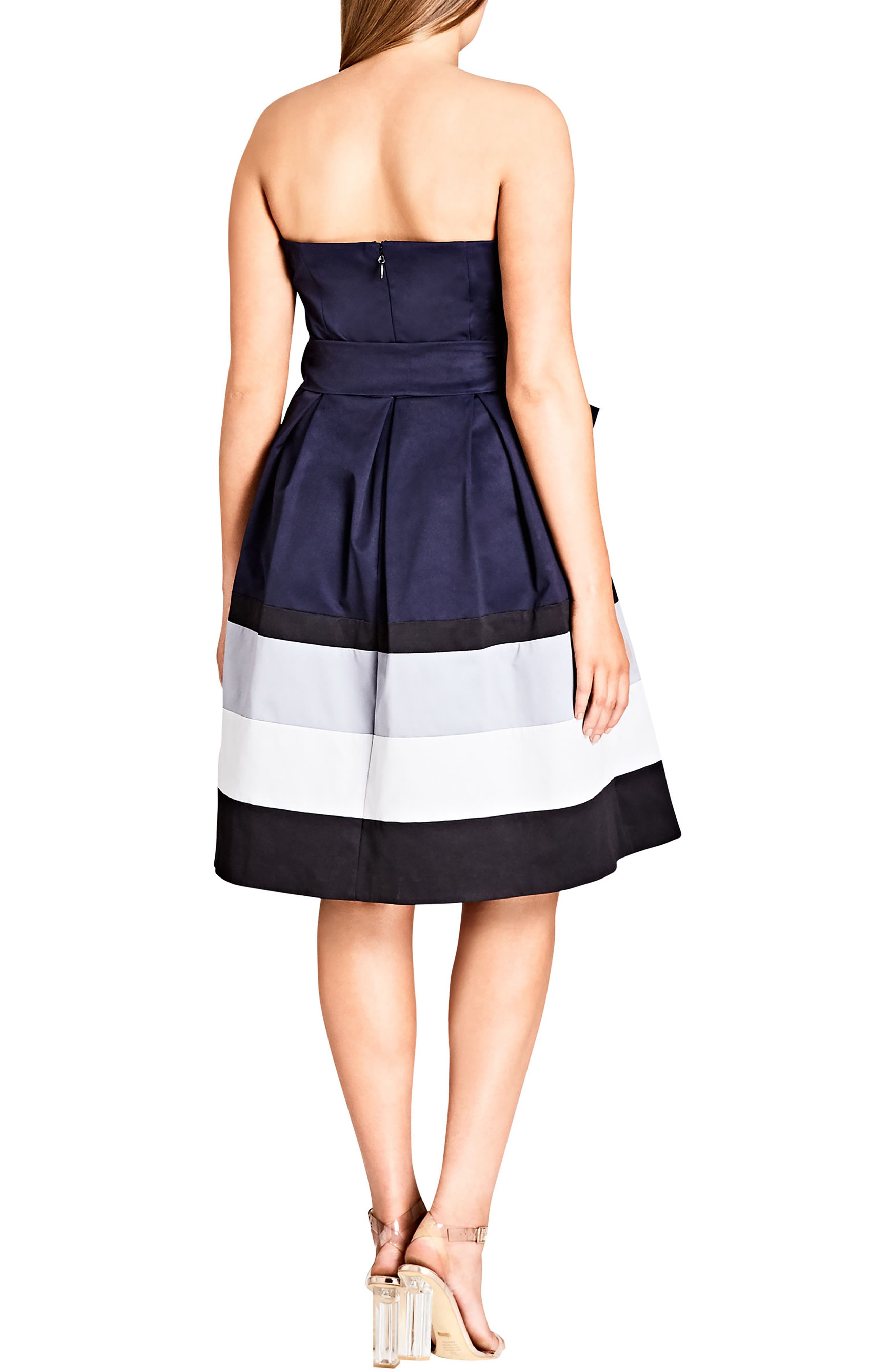 Block Stripe Sleeveless Fit & Flare Dress,                             Alternate thumbnail 2, color,                             NAVY