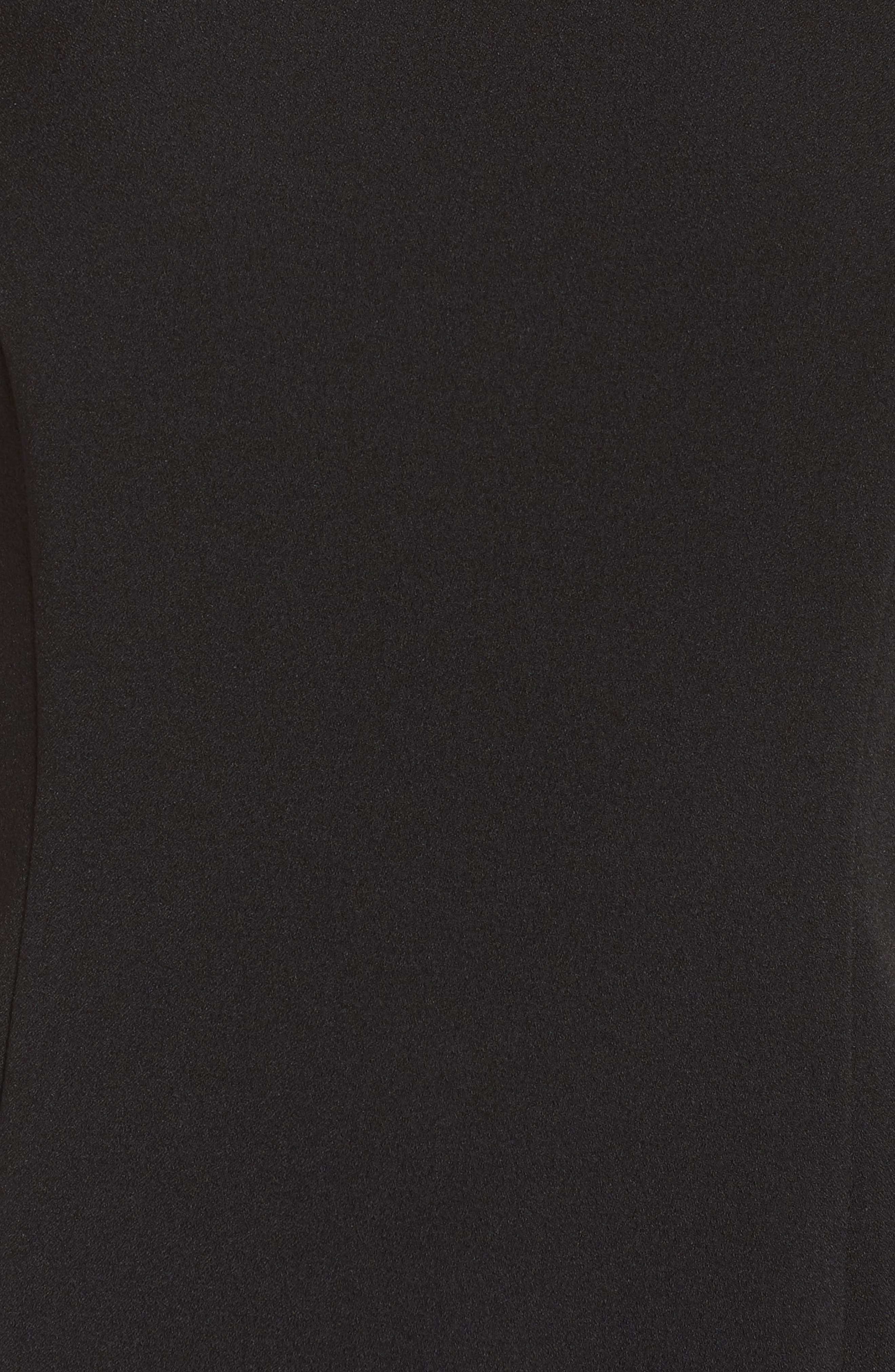 Feather Hem Sheath Dress,                             Alternate thumbnail 6, color,                             BLACK