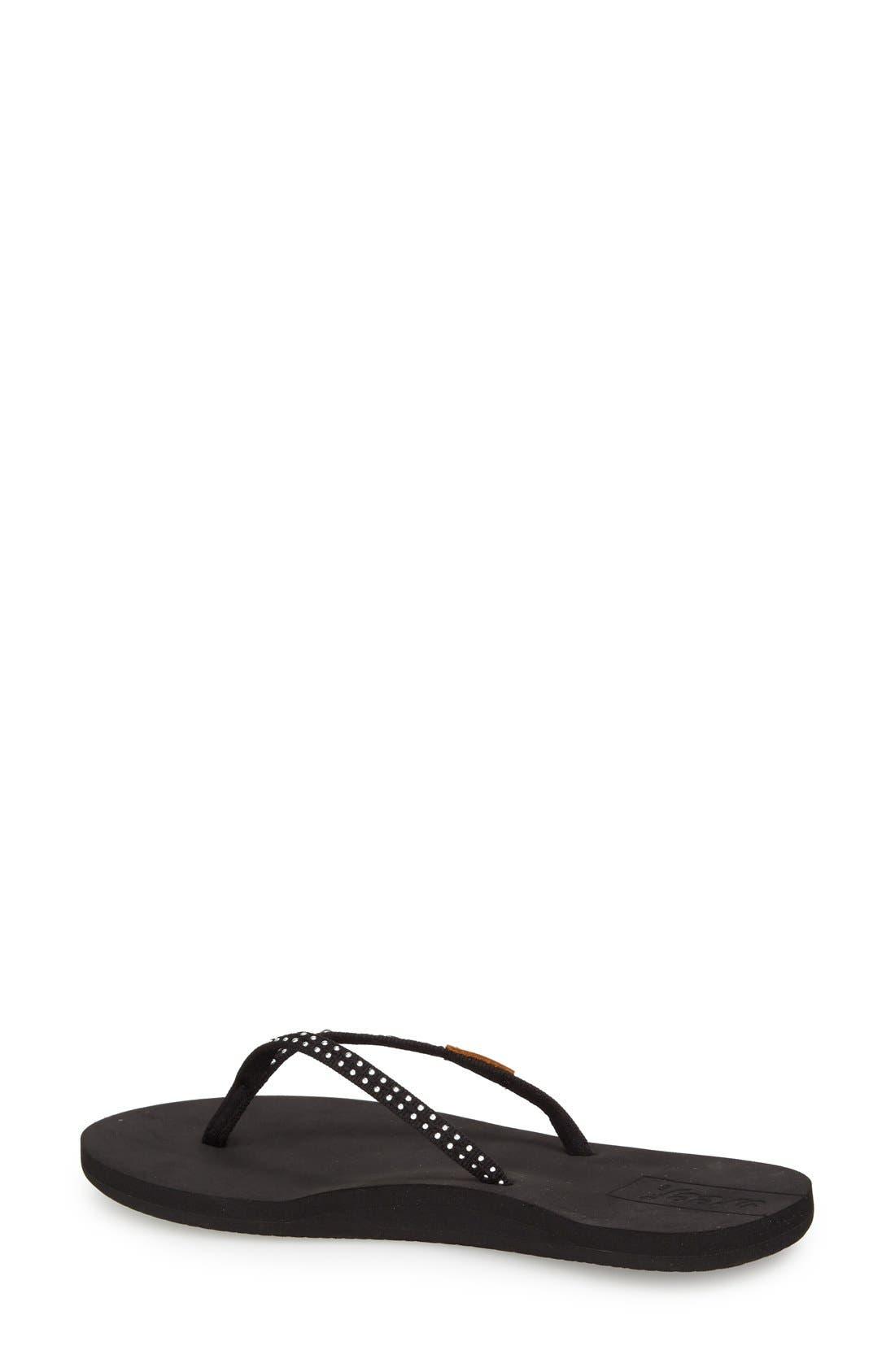 'Slim Ginger' Studded Flip Flop,                             Alternate thumbnail 2, color,                             BLACK