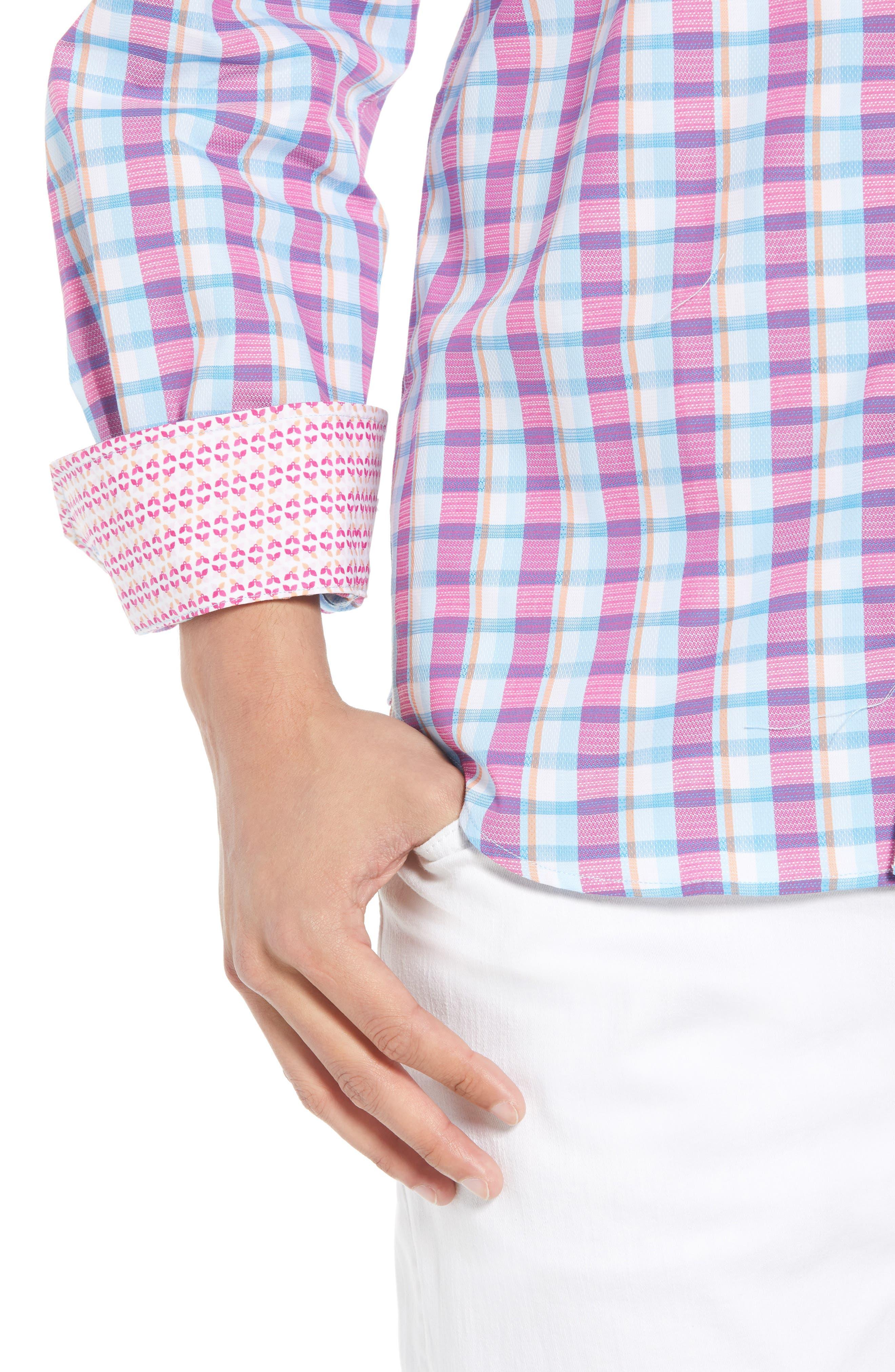 Leith Regular Fit Check Sport Shirt,                             Alternate thumbnail 4, color,                             439