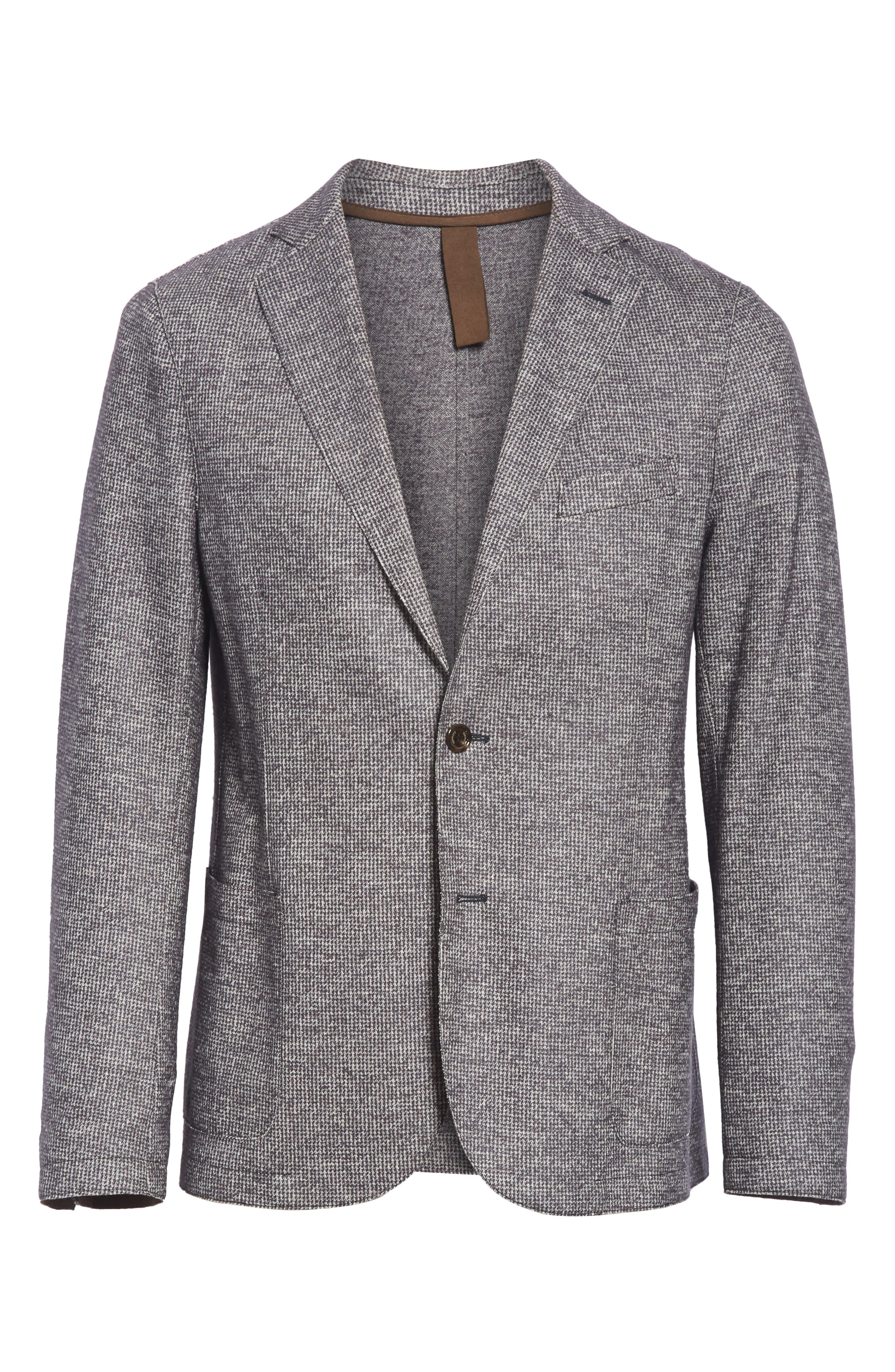 Trim Fit Houndstooth Wool & Cotton Sport Coat,                             Alternate thumbnail 5, color,                             GREY