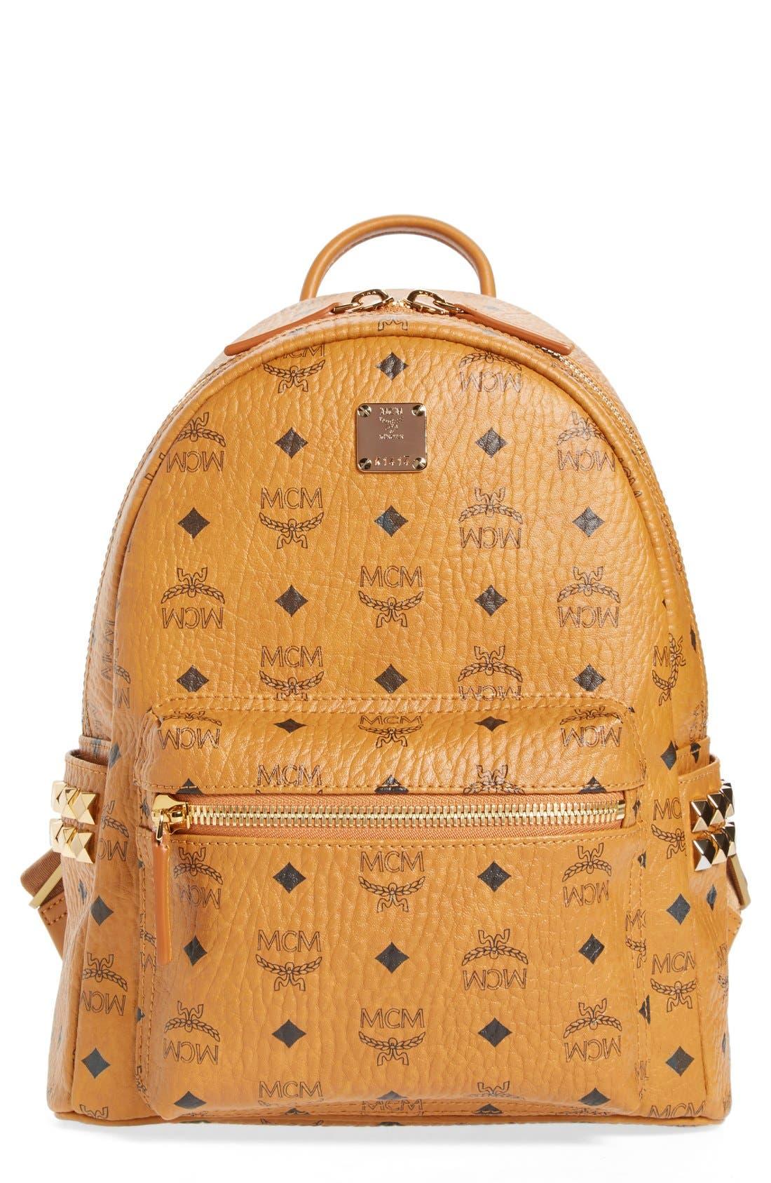 MCM Small Stark Side Stud Backpack - Brown in Cognac