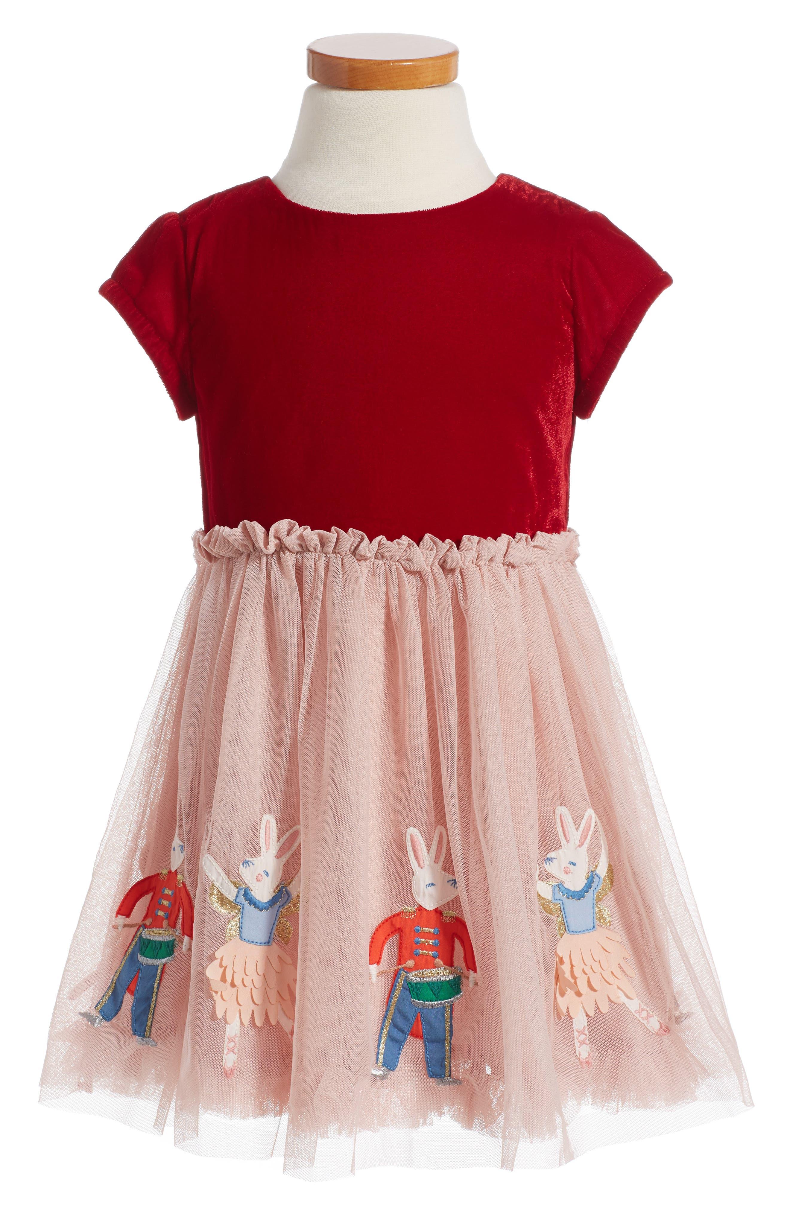 Velvet Tulle Dress,                             Alternate thumbnail 3, color,                             654