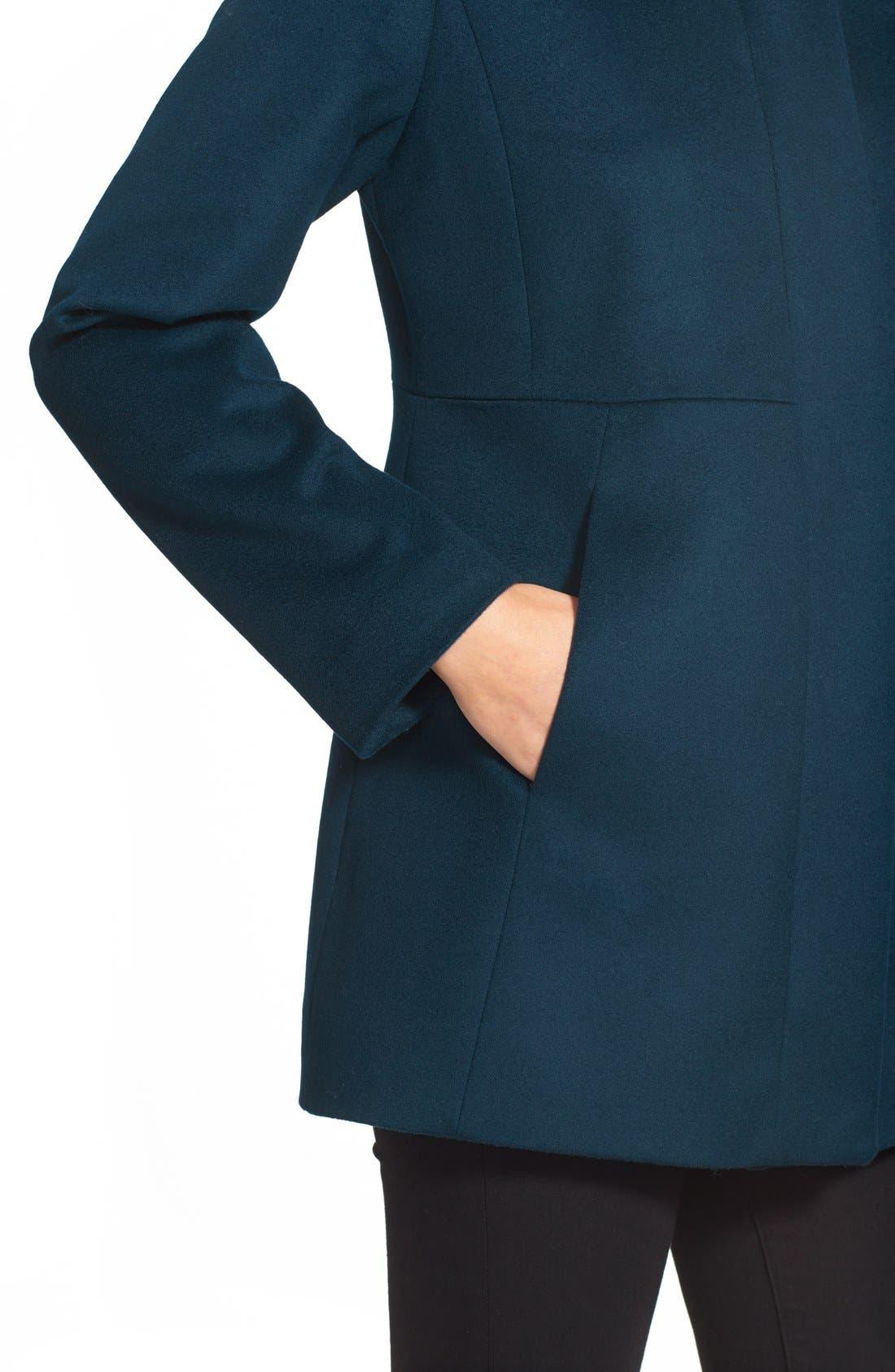 Genuine Fox Fur Trim Hooded Wool Blend Coat,                             Alternate thumbnail 22, color,