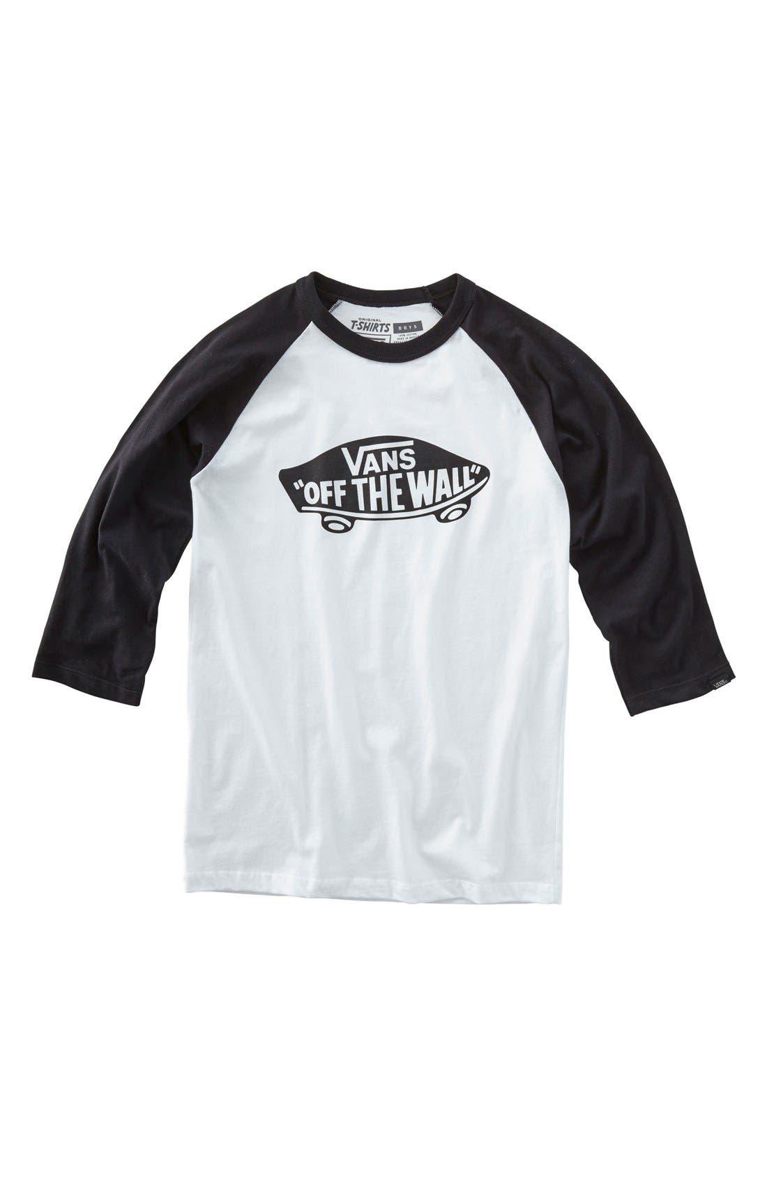 'Off the Wall' Raglan Sleeve T-Shirt,                             Main thumbnail 1, color,                             100
