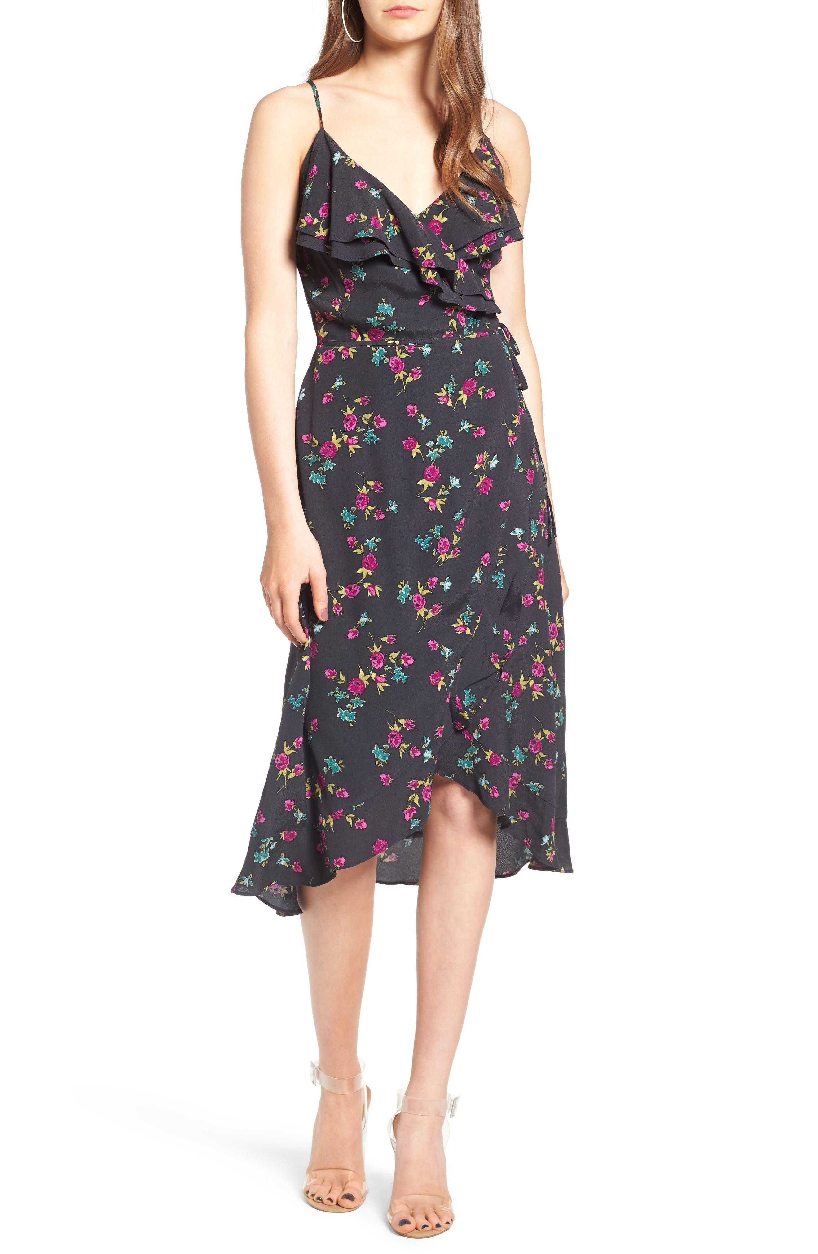 Flounce Wrap Midi Dress,                             Main thumbnail 3, color,