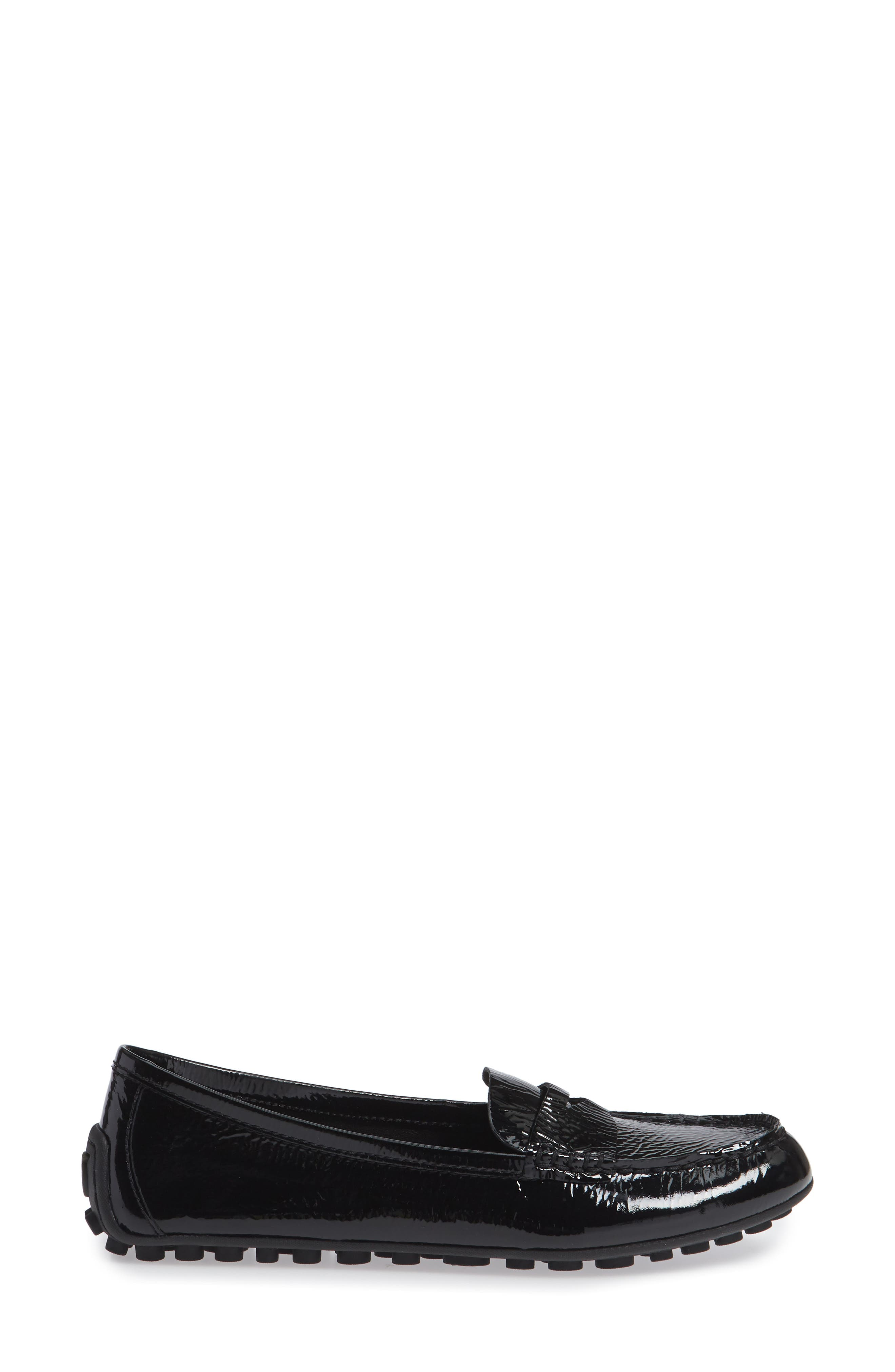 Malena Driving Loafer,                             Alternate thumbnail 3, color,                             BLACK PATENT LEATHER
