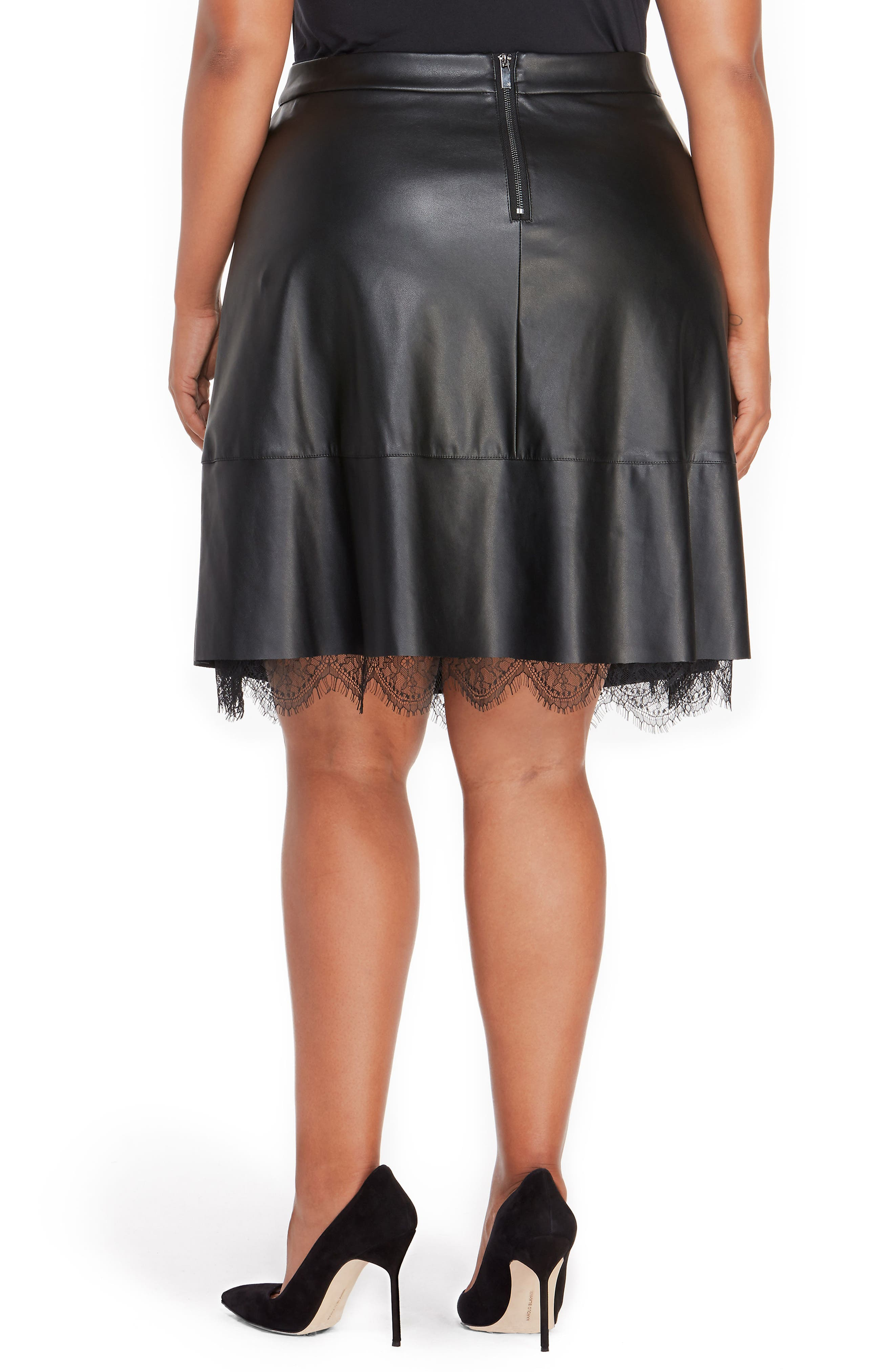 Faux Leather Pleated Skirt with Lace,                             Alternate thumbnail 2, color,                             001