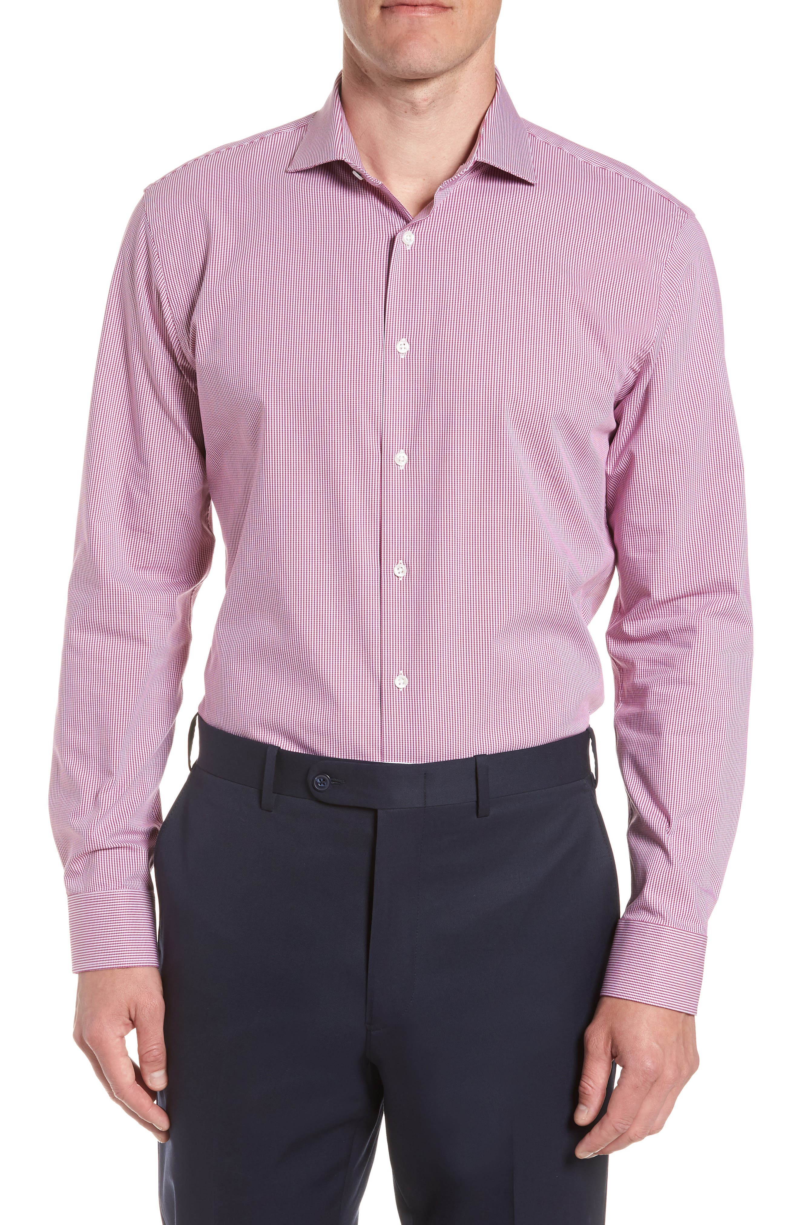 Tech-Smart Trim Fit Houndstooth Dress Shirt,                             Main thumbnail 2, color,