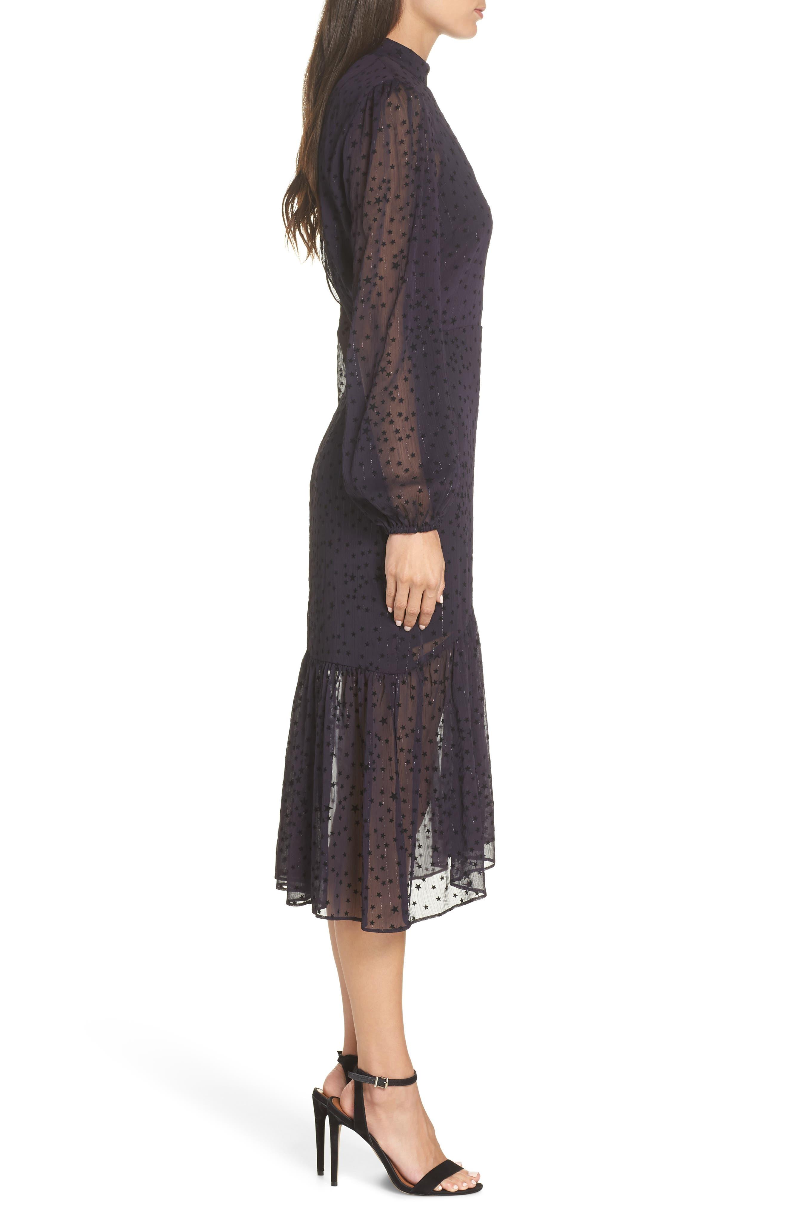 AVEC LES FILLES,                             Flocked Star Ruffle Dress,                             Alternate thumbnail 3, color,                             NAVY/ BLACK