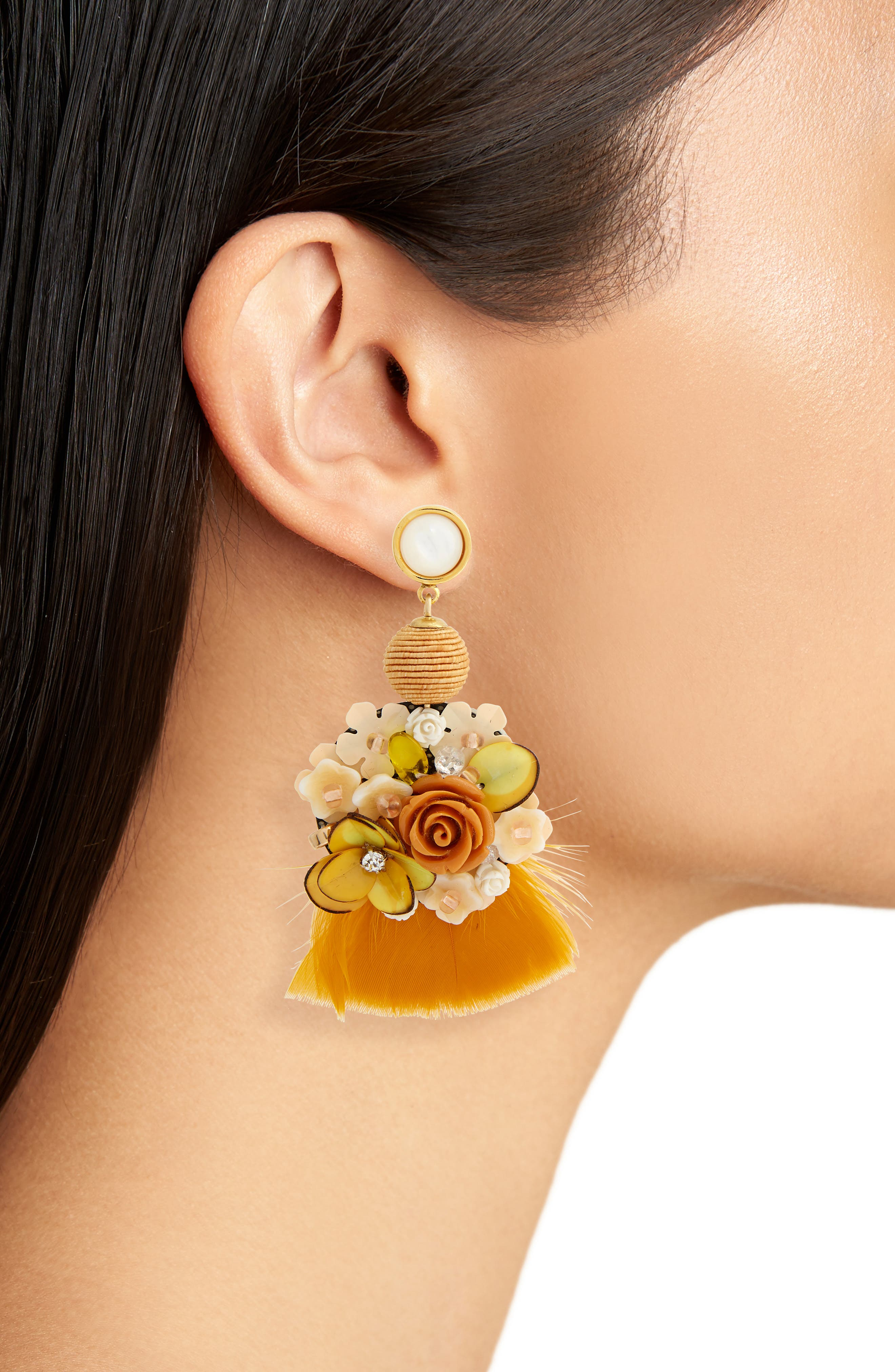French Marigold Drop Earrings,                             Alternate thumbnail 2, color,                             800