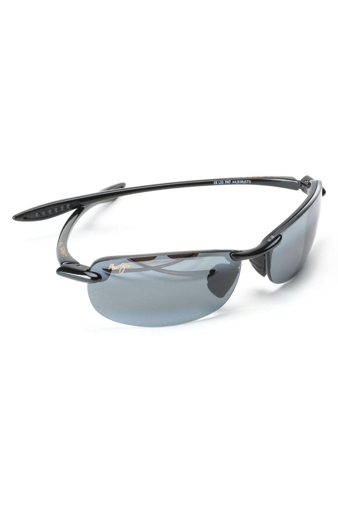 'Makaha - PolarizedPlus<sup>®</sup>2' 63mm Sunglasses,                             Alternate thumbnail 3, color,                             BLK