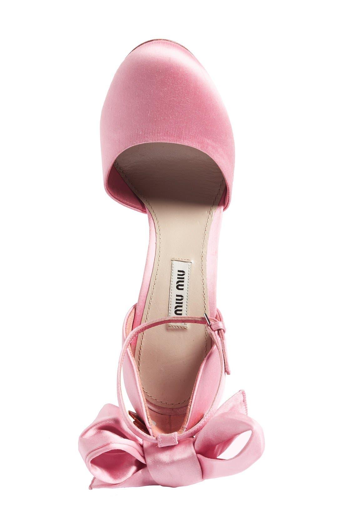 MIU MIU,                             Crystal Bow Tie Ankle Strap Pump,                             Alternate thumbnail 4, color,                             650