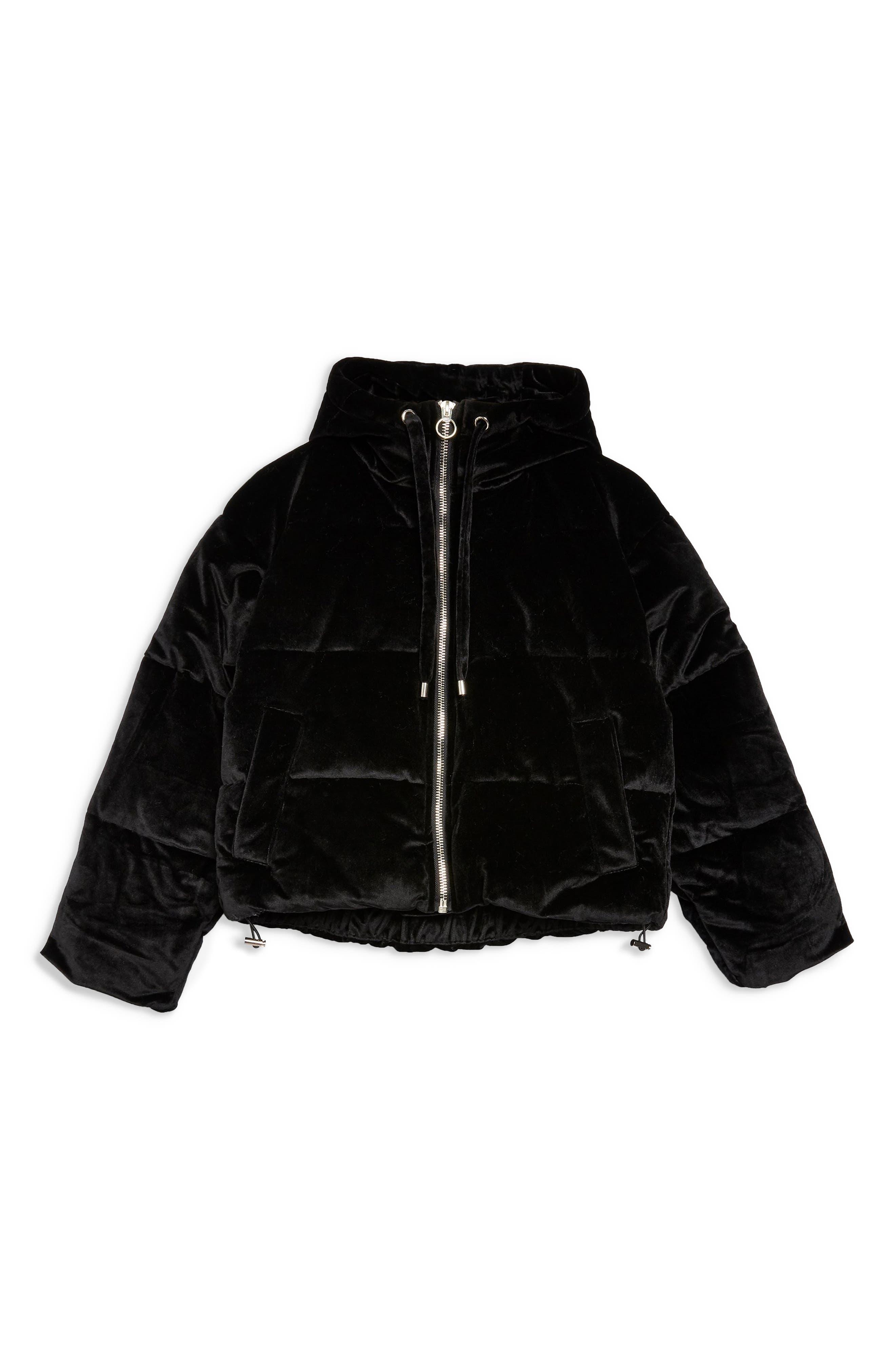 Velvet Puffer Jacket,                             Alternate thumbnail 4, color,                             001