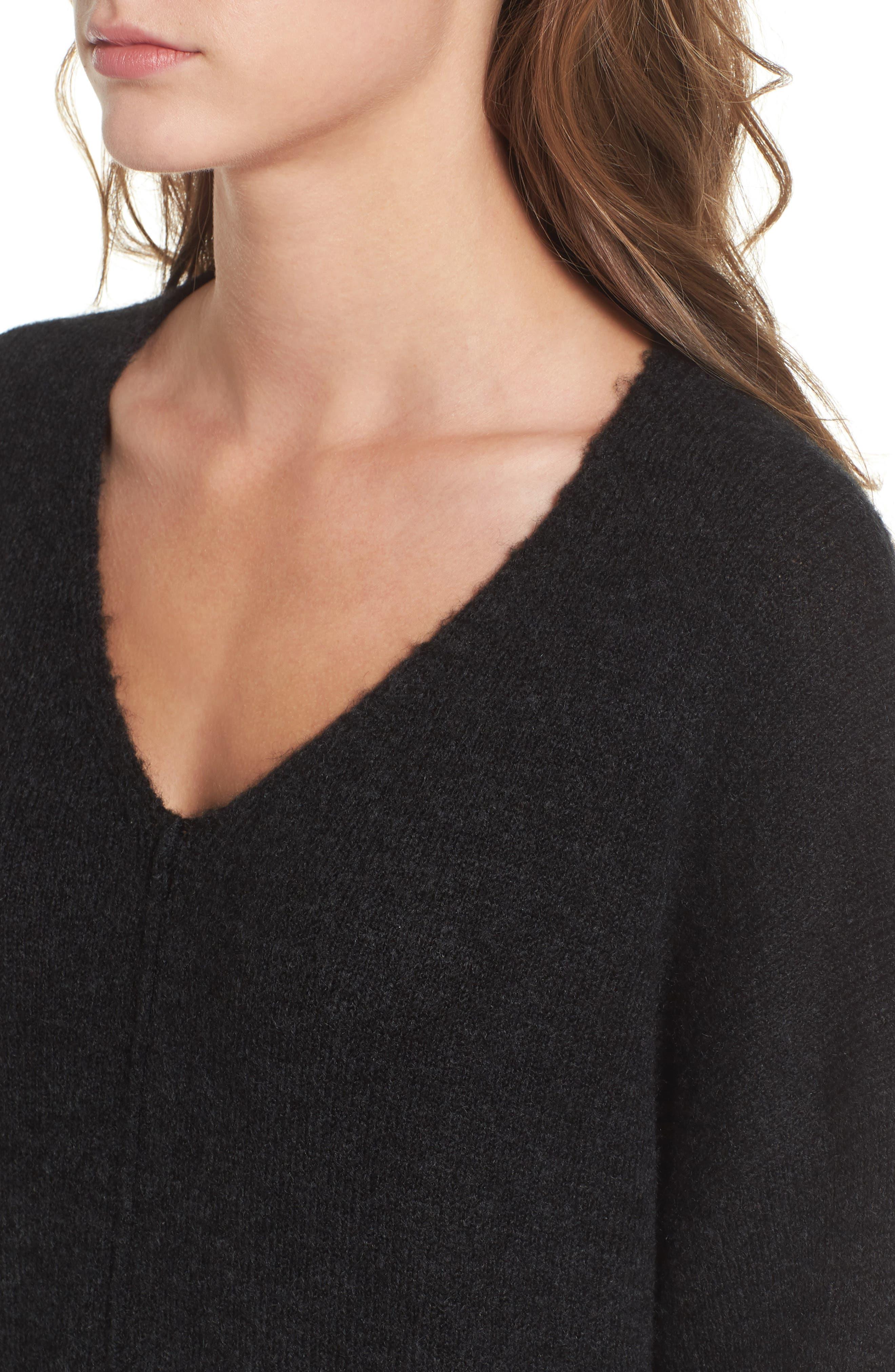 Exposed Seam Tunic Sweater,                             Alternate thumbnail 4, color,                             001