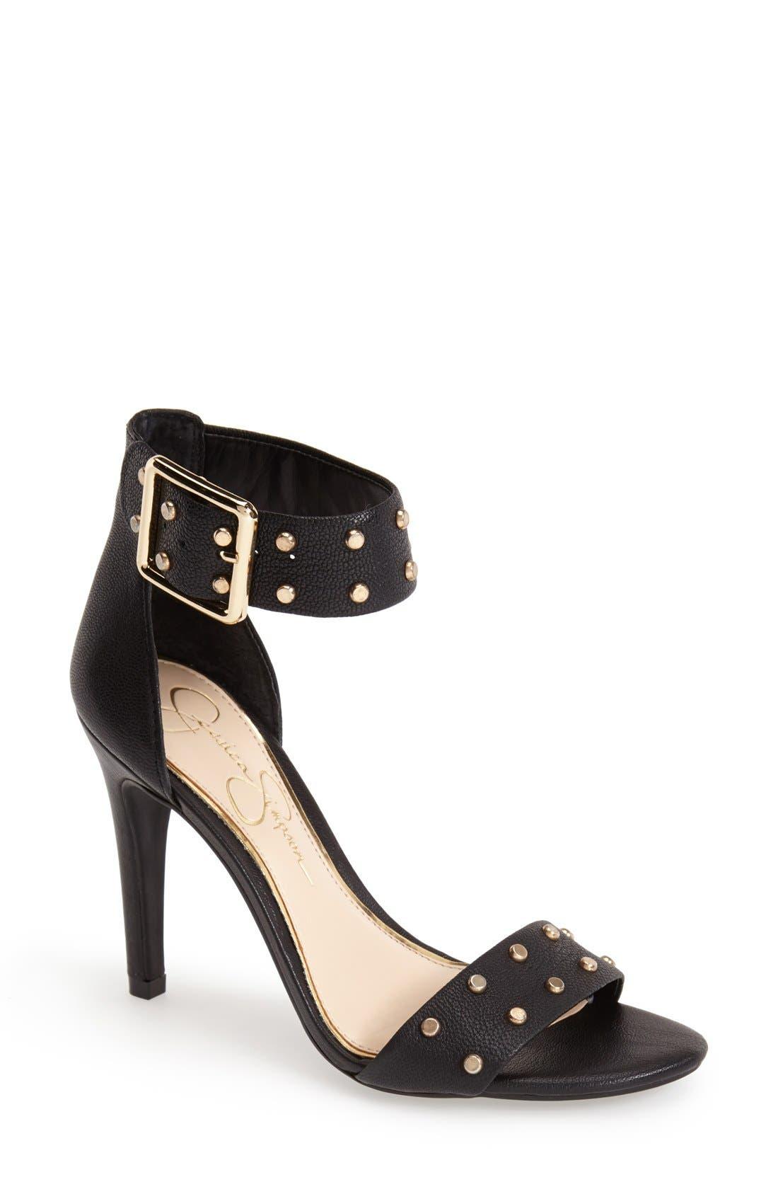 'Elonna' Studded Ankle Cuff Sandal,                             Main thumbnail 1, color,                             001