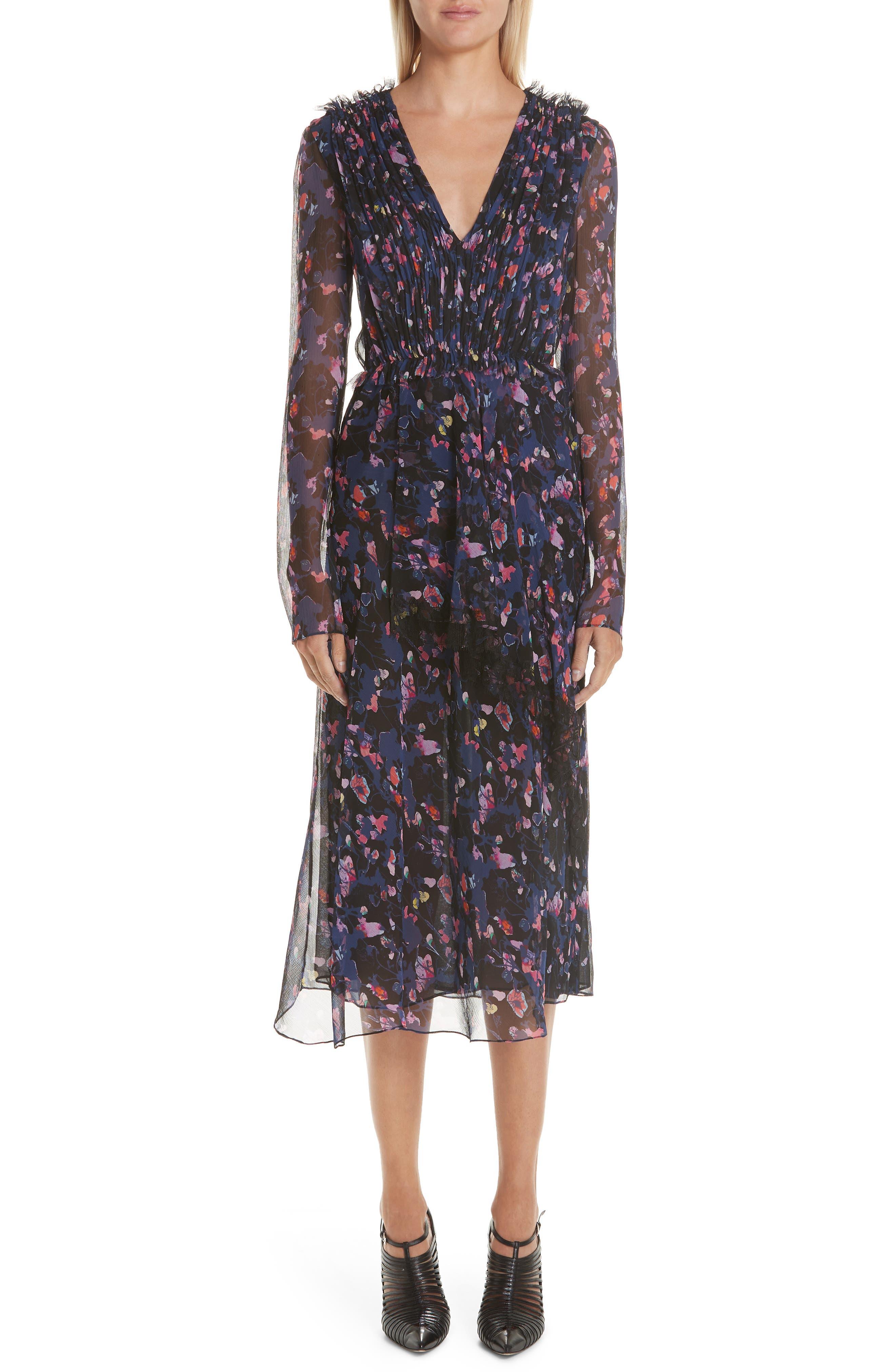 Print Silk Chiffon Midi Dress, Main, color, BLACK MULTI