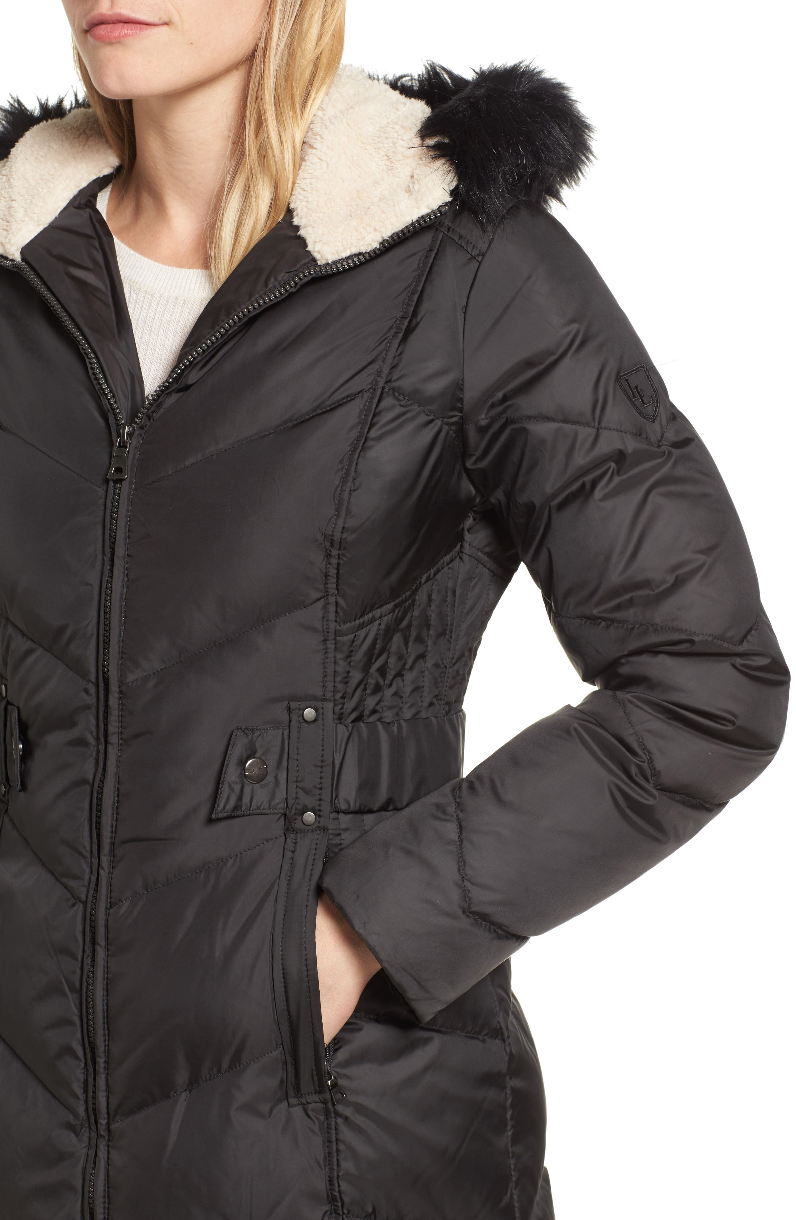 Hooded Down & Feather Fill Jacket with Faux Fur Trim,                             Alternate thumbnail 4, color,                             001