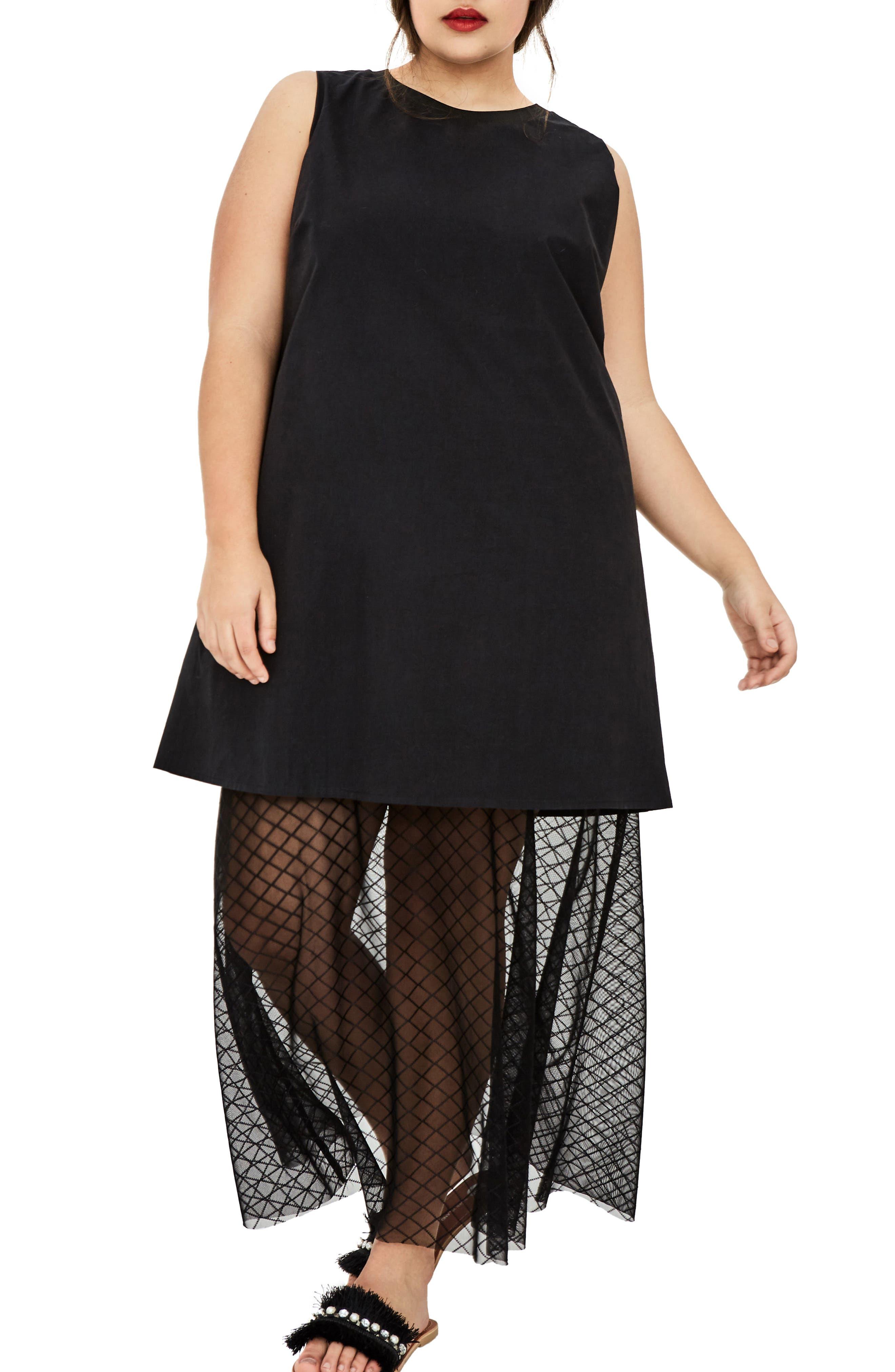 The Agata Sheer Hem Maxi Dress,                             Alternate thumbnail 6, color,                             BLACK